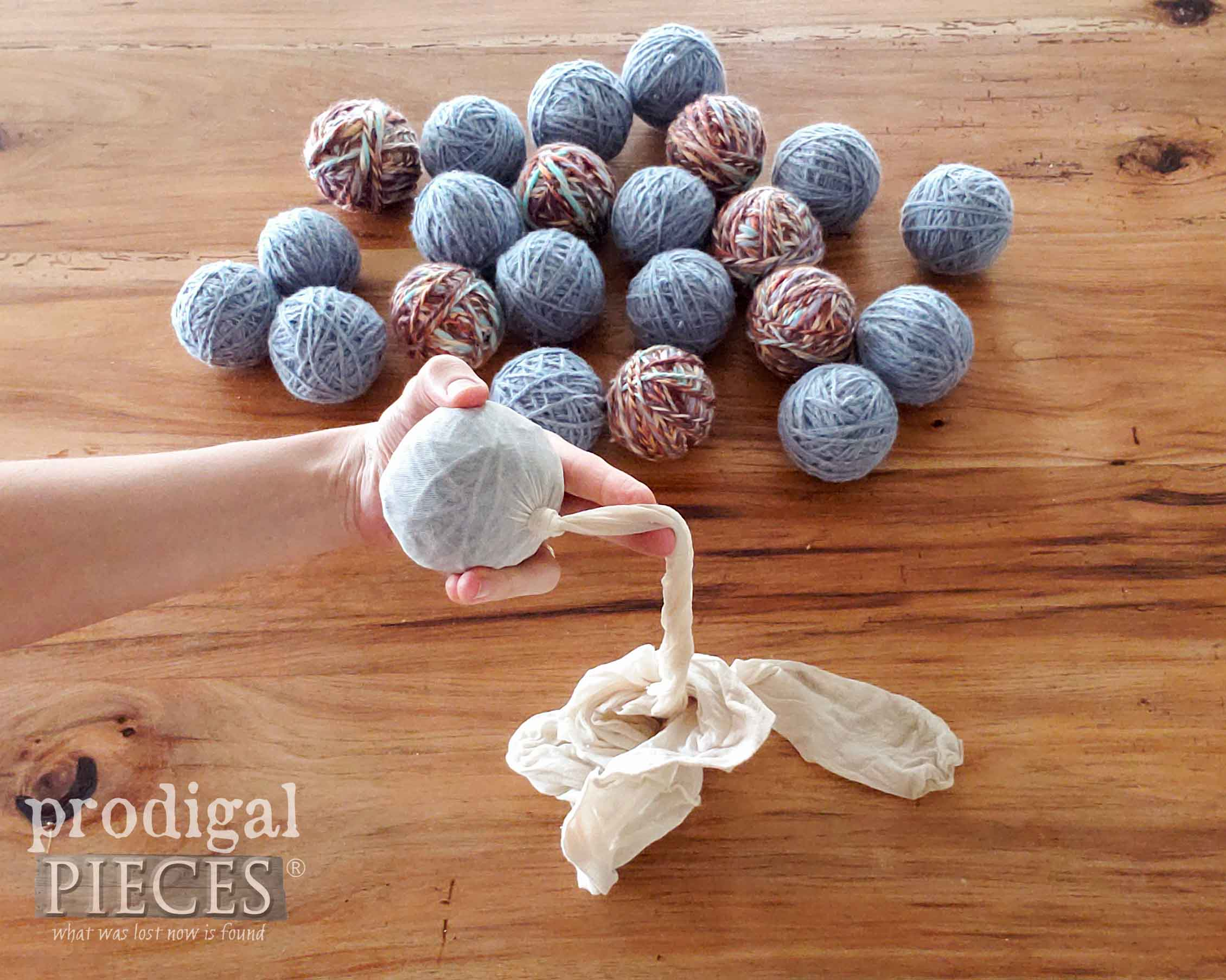 Knotting Wool Ball in Pantyhose | prodigalpieces.com