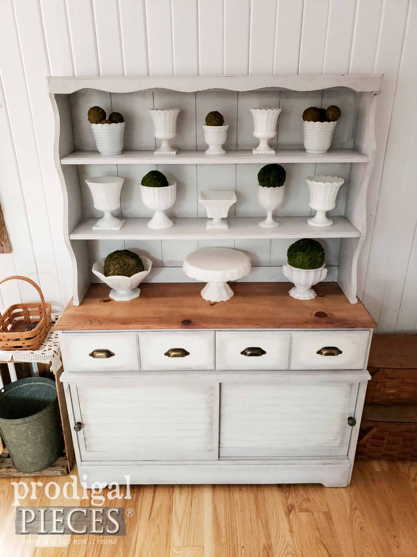 Top View of Farmhouse Hutch after Makeover by Larissa of Prodigal Pieces | prodigalpieces.com #prodigalpieces #diy #home #homedecor #furniture