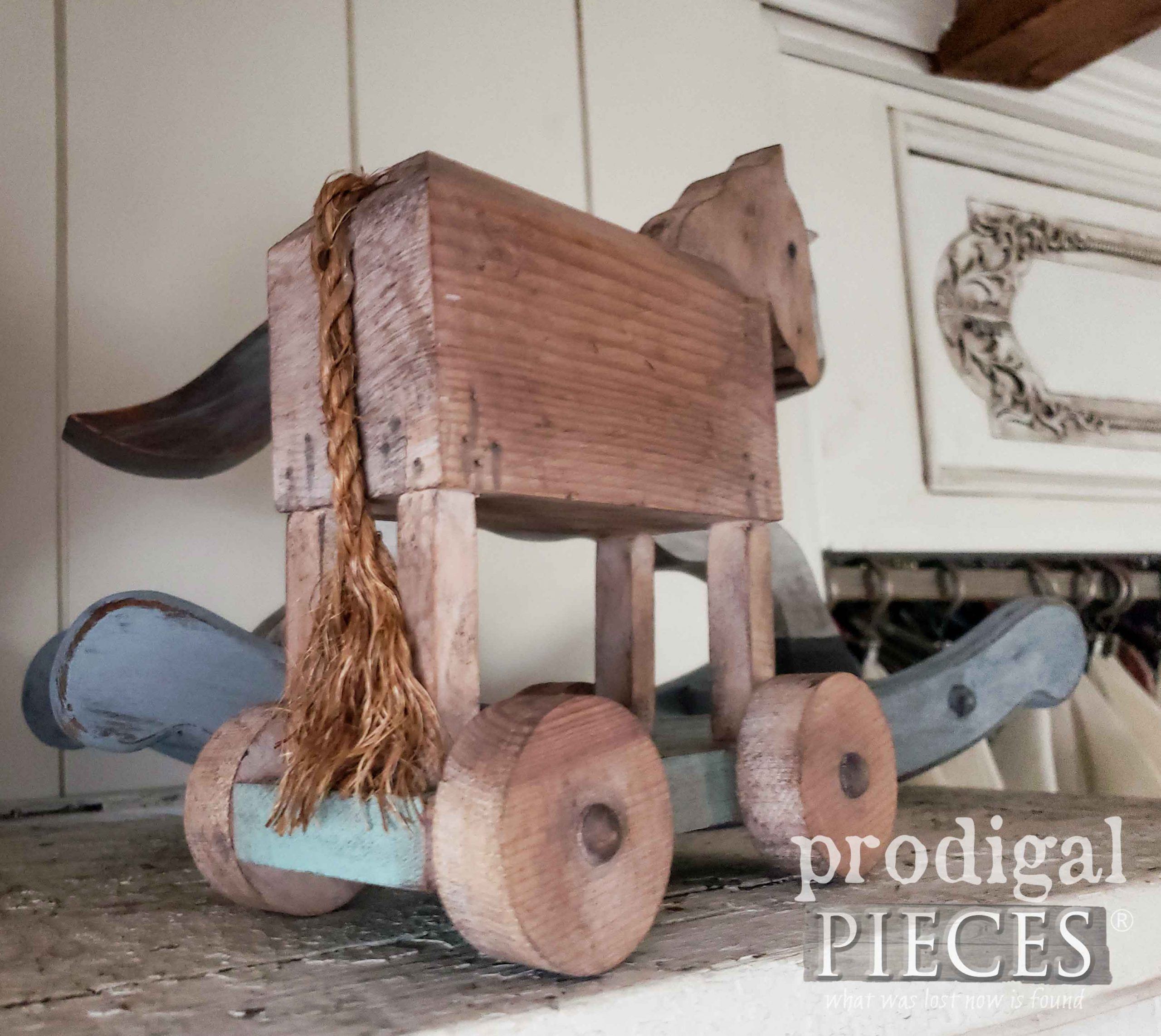 Small Wooden Trojan Horse with Rope Tail | prodigalpieces.com #prodigalpieces #handmade #farmhouse #home #homedecor