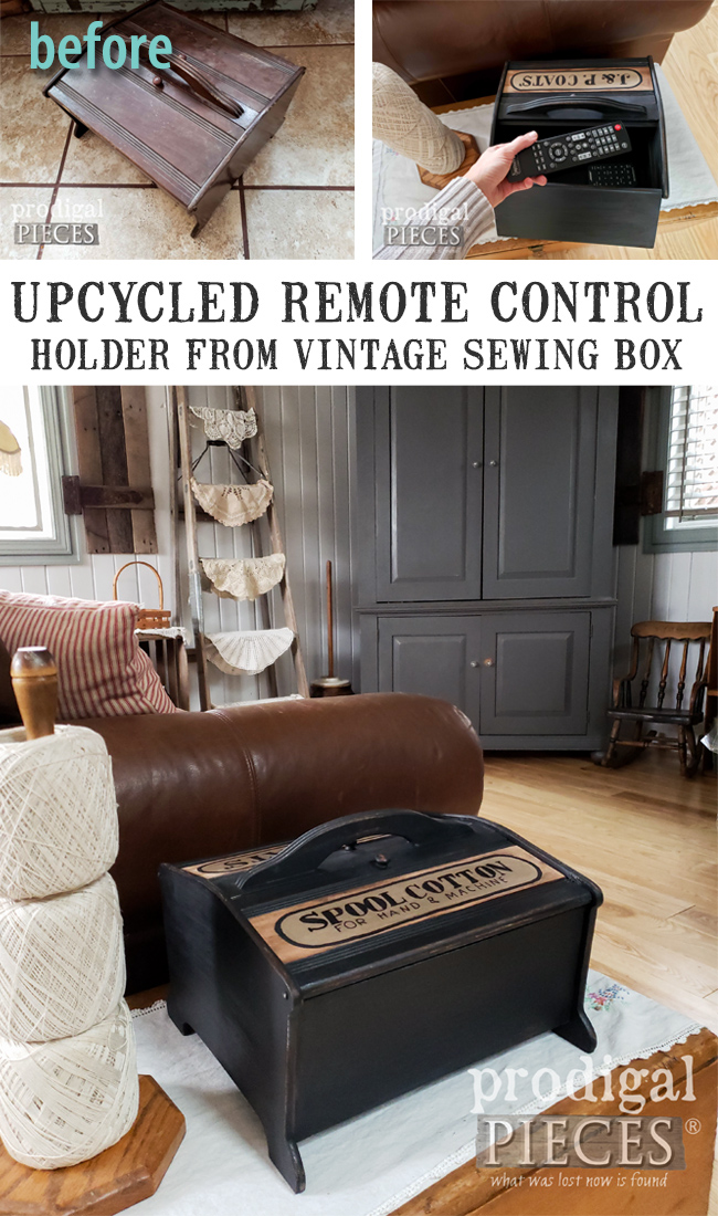 Check out this Upcycled Remote Control Holder Made from a Vintage Sewing Box ~ Fun Device Storage | Video tutorial by Larissa of Prodigal Pieces | prodigalpieces.com #prodigalpieces #diy #home #farmhouse #vintage #homedecor
