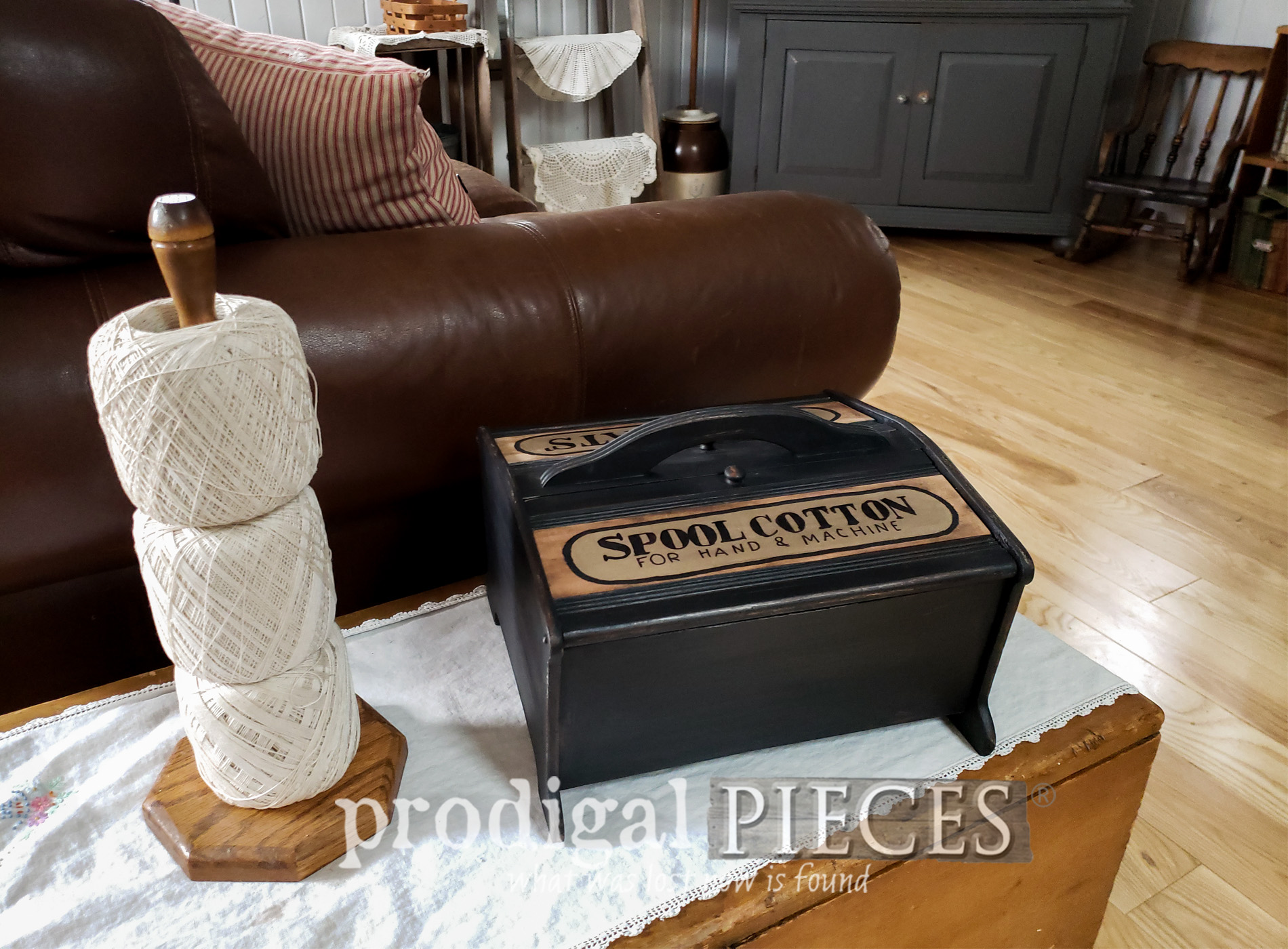 Vintage Sewing Box into Upcycled Remote Control Holder with video tutorial by Larissa of Prodigal Pieces | prodigalpieces.com #prodigalpieces #farmhouse #upcycled #home #homedecor #diy #storage