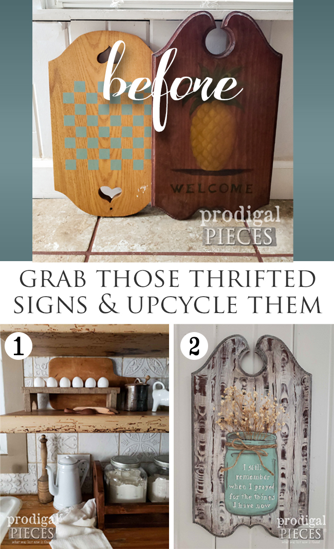 Upcycle those thrifted wooden signs into something totally new and useful for your home | Larissa of Prodigal Pieces shows you how at prodigalpieces.com #prodigalpieces #diy #home #farmhouse #homedecor #diy