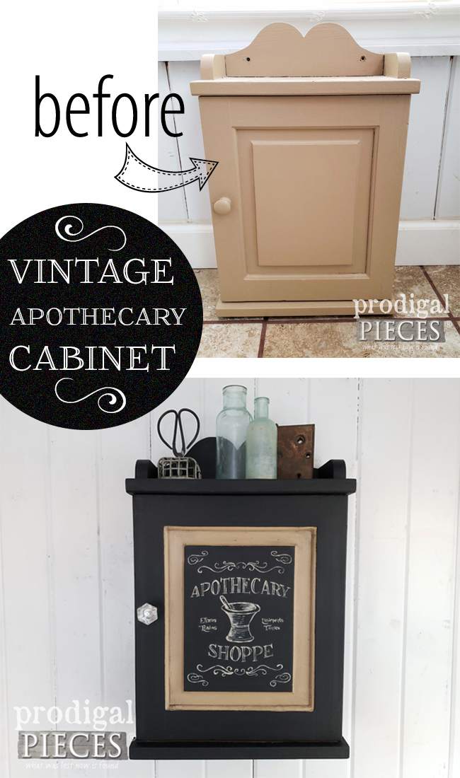 A vintage apothecary cabinet gets a new makeover with typography by Larissa of Prodigal Pieces | prodigalpieces.com #prodigalpieces #farmhouse #vintage #diy #home #homedecor #industrial #apothecary