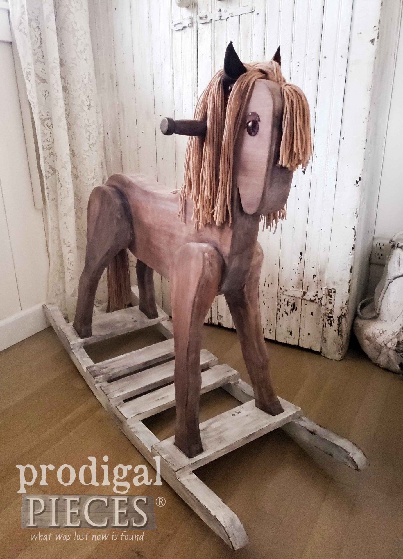 Vintage Farmhouse Rocking Horse as Refinished by Larissa of Prodigal Pieces | prodigalpieces.com #prodigalpieces #farmhouse #toy #kids #home #handmade #homedecor