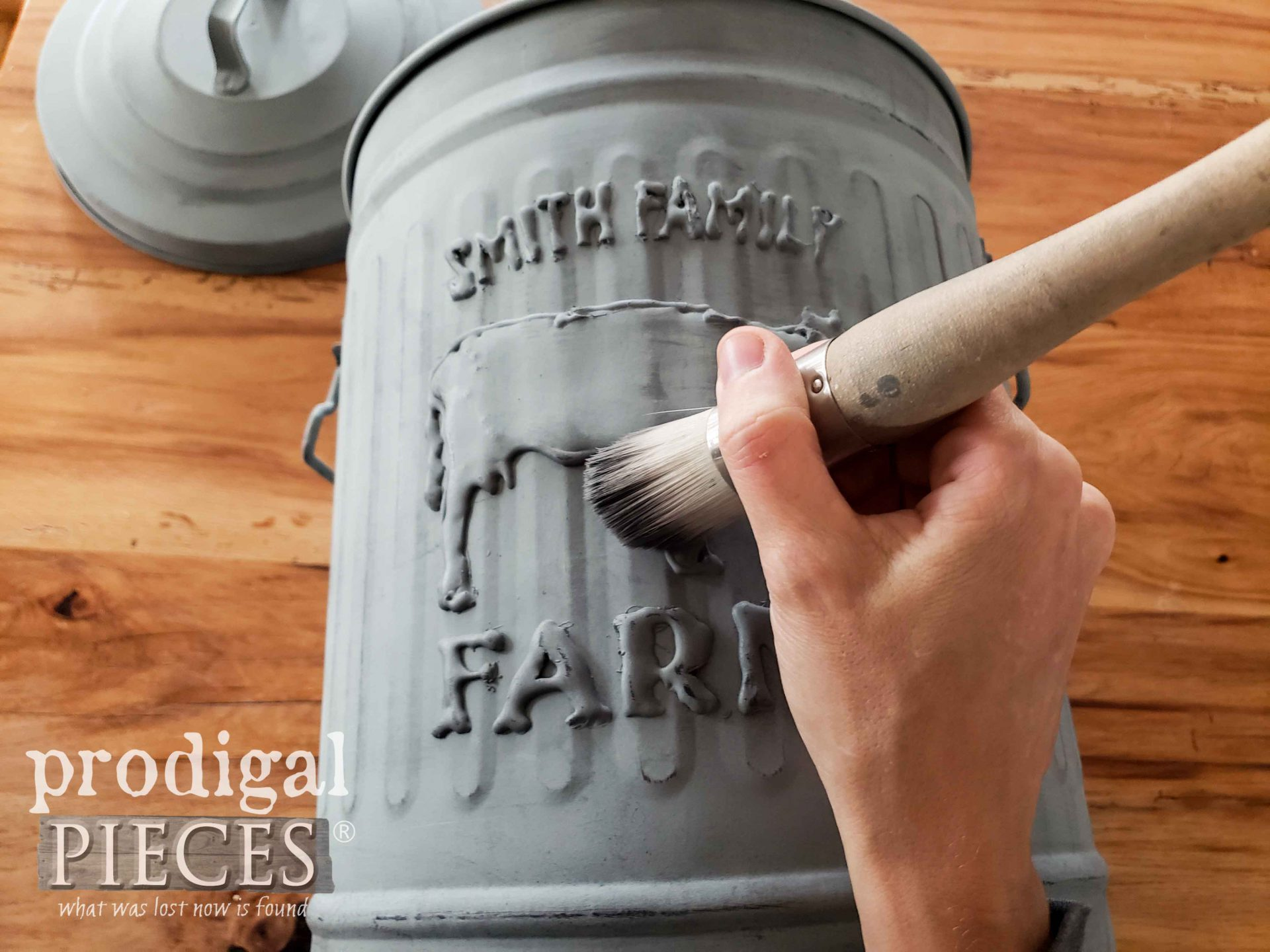 Applying Dark Gray Wax to Farmhouse Trash Can | How to Emboss by Larissa of Prodigal Pieces | prodigalpieces.com