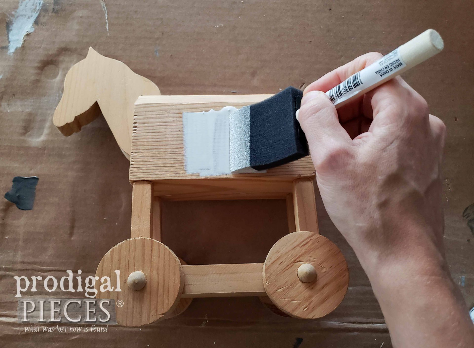 Whitewashing Wooden Horse with White Stain | prodigalpieces.com