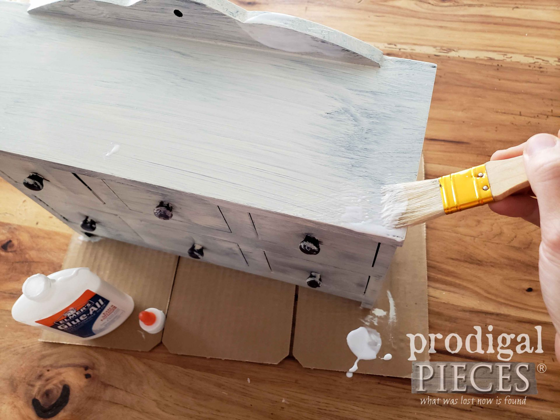 Applying School Glue for Crackle Paint Effect by Prodigal Pieces | prodigalpieces.com
