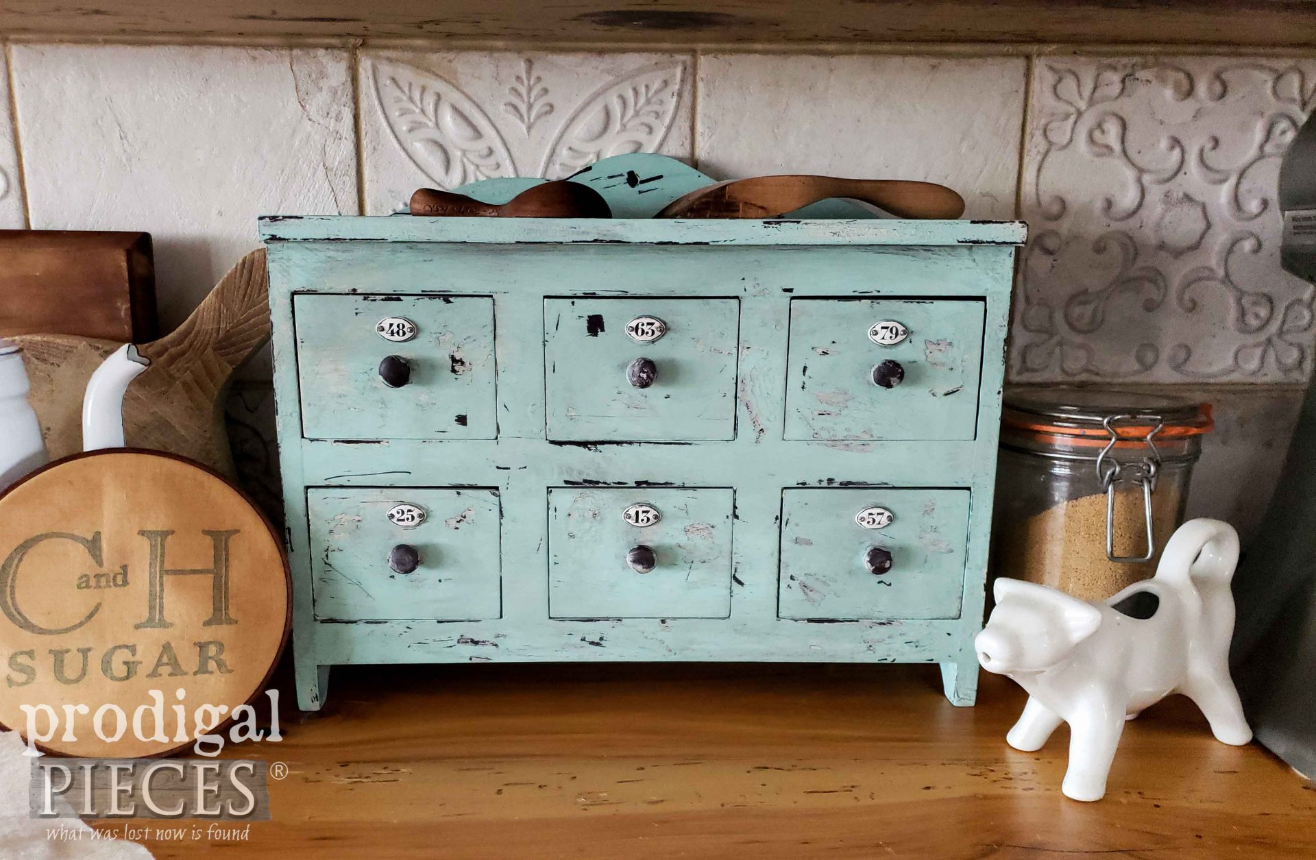 Chippy Blue Industrial Apothecary Cubby by Larissa of Prodigal Pieces | prodigalpieces.com #prodigalpieces #storage #industrial #farmhouse #home #diy #homedecor