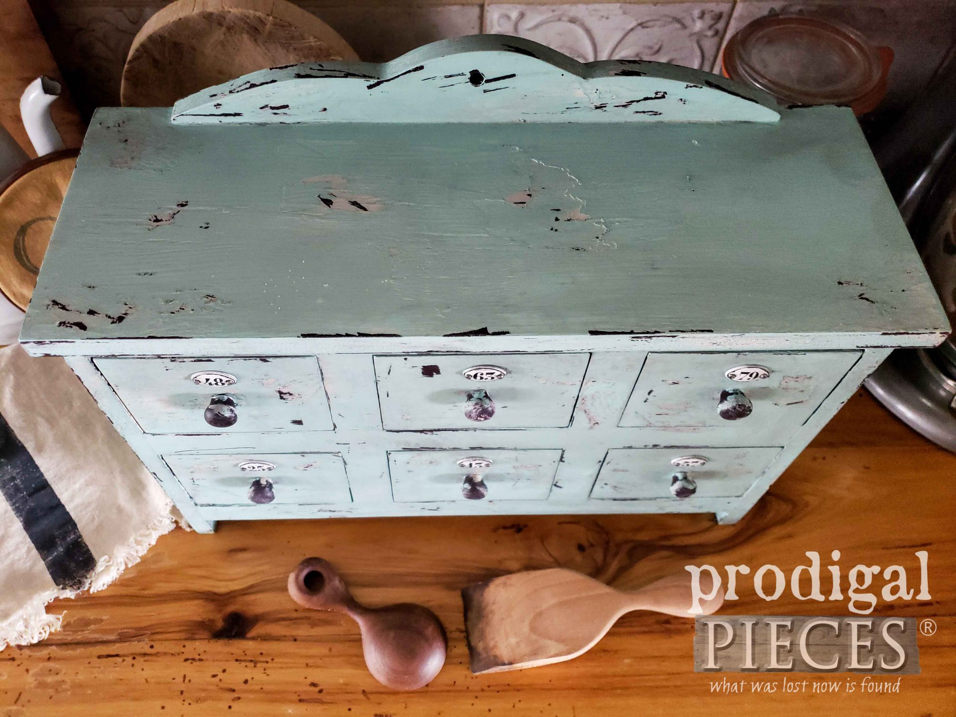 Chippy Aqua Blue Apothecary Cubby by Larissa of Prodigal Pieces | prodigalpieces.com #prodigalpieces #diy #home #farmhouse #kitchen #homedecor
