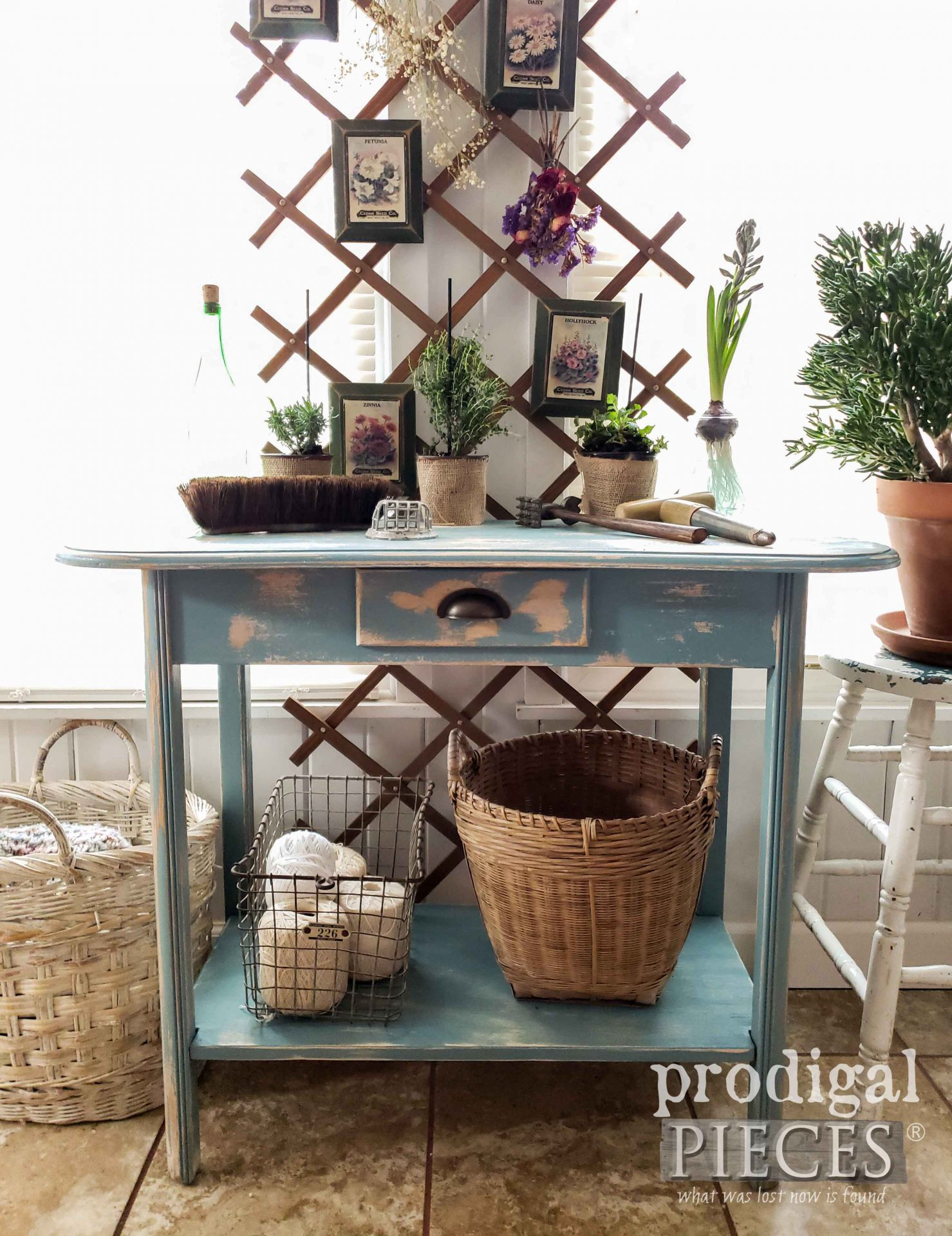 Cottage Style Blue Table Made from Repurposed Desk | DIY detail at Prodigal Pieces | prodigalpieces.com #prodigalpieces #home #furniture #farmhouse #homedecor
