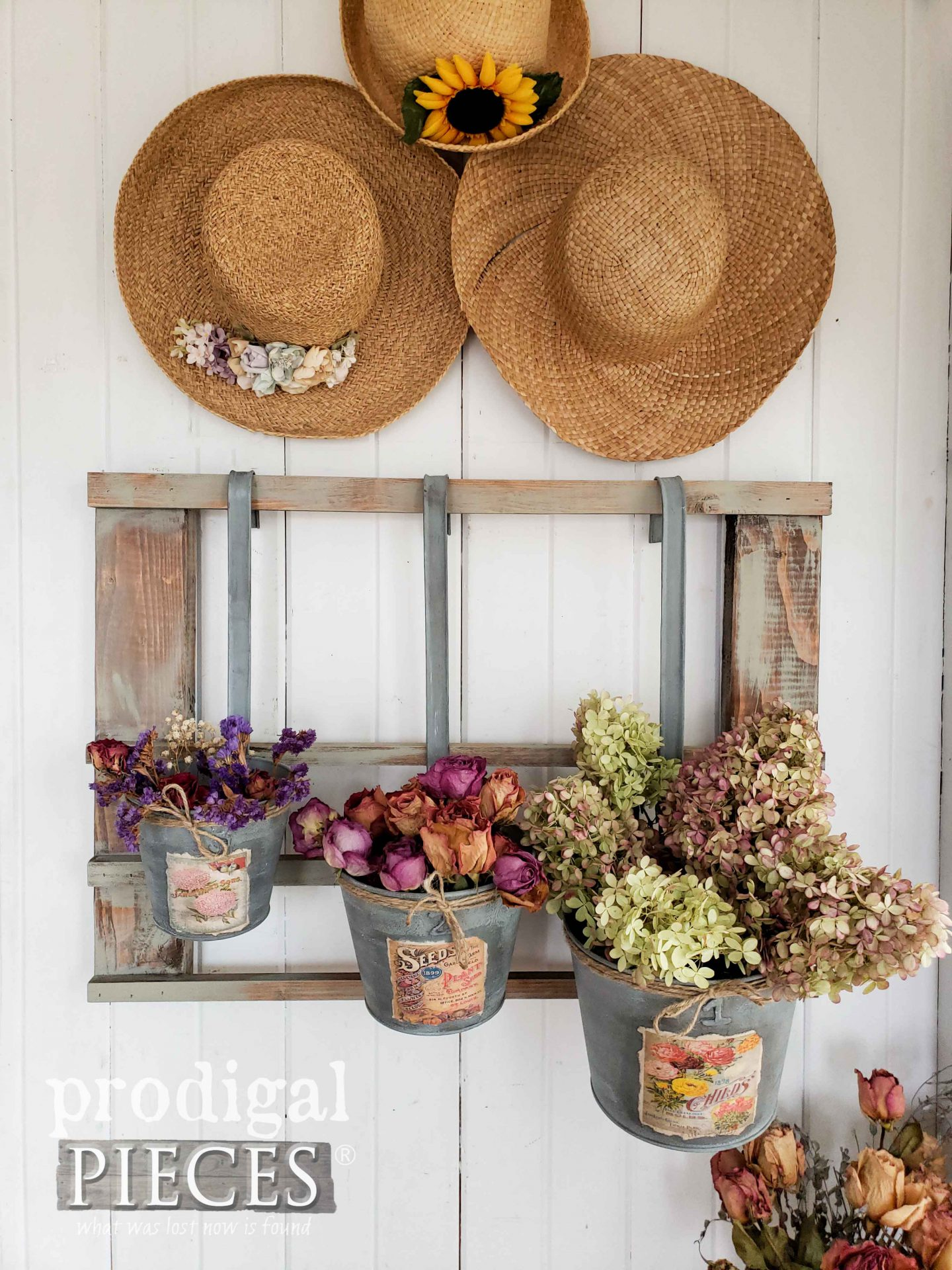 Cottage Style Flower Display Created from Upcycled Christmas Decor | Video Tutorial by Larissa of Prodigal Pieces | prodigalpieces.com #prodigalpieces #diy #cottage #home #farmhouse #homedecor