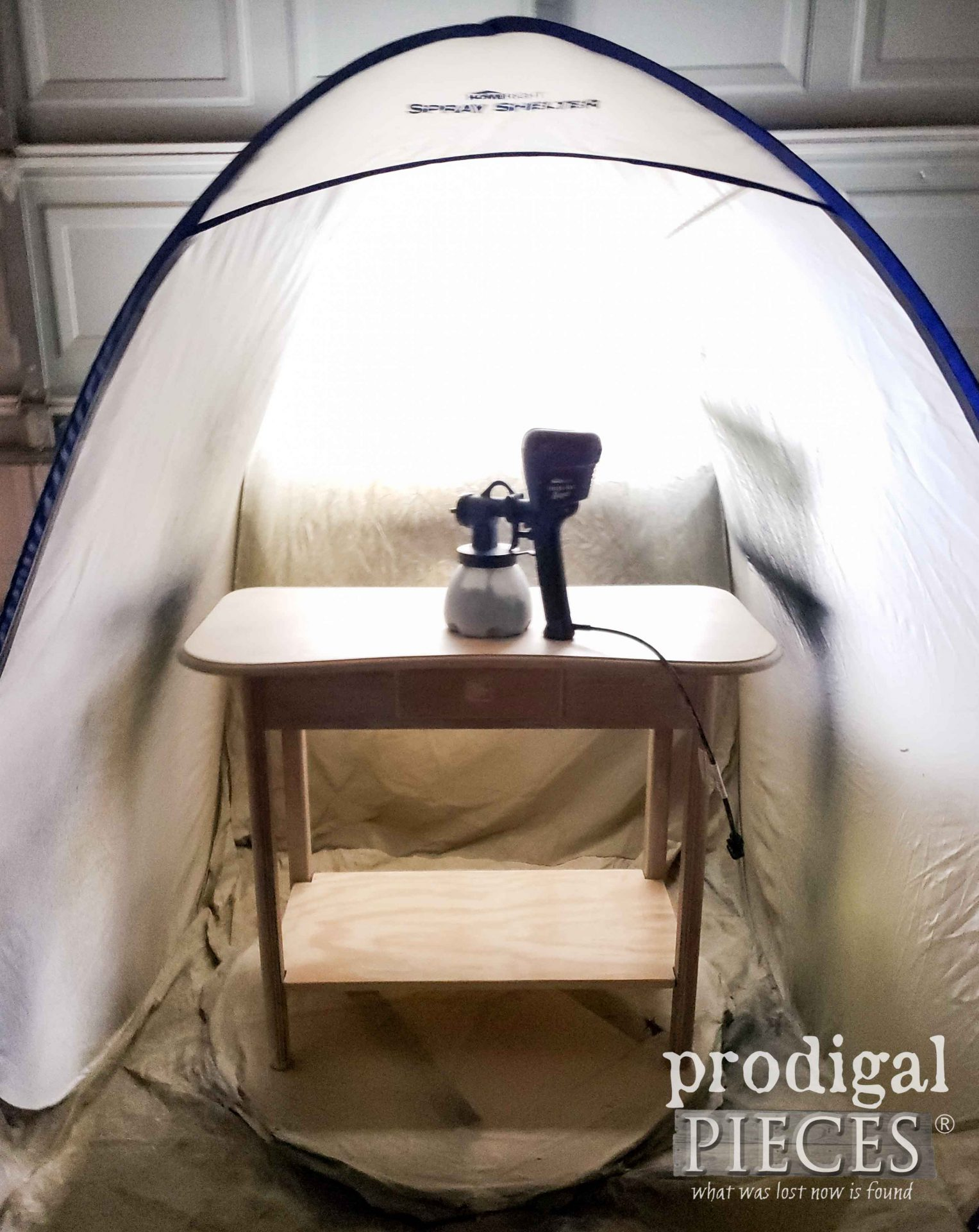 HomeRight Spray Shelter & Sprayer with Repurposed Desk by Larissa of Prodigal Pieces | prodigalpieces.com