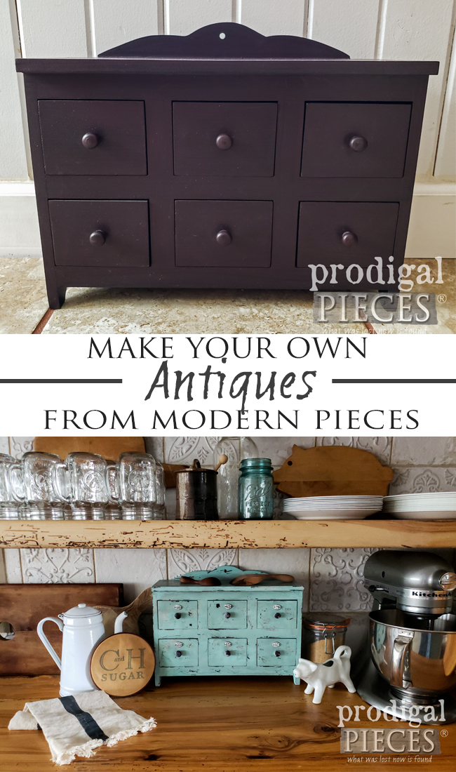 "Take those modern box store pieces and turn them into ""antiques"". Save & have DIY fun! Apothecary cubby by Larissa of Prodigal Pieces 