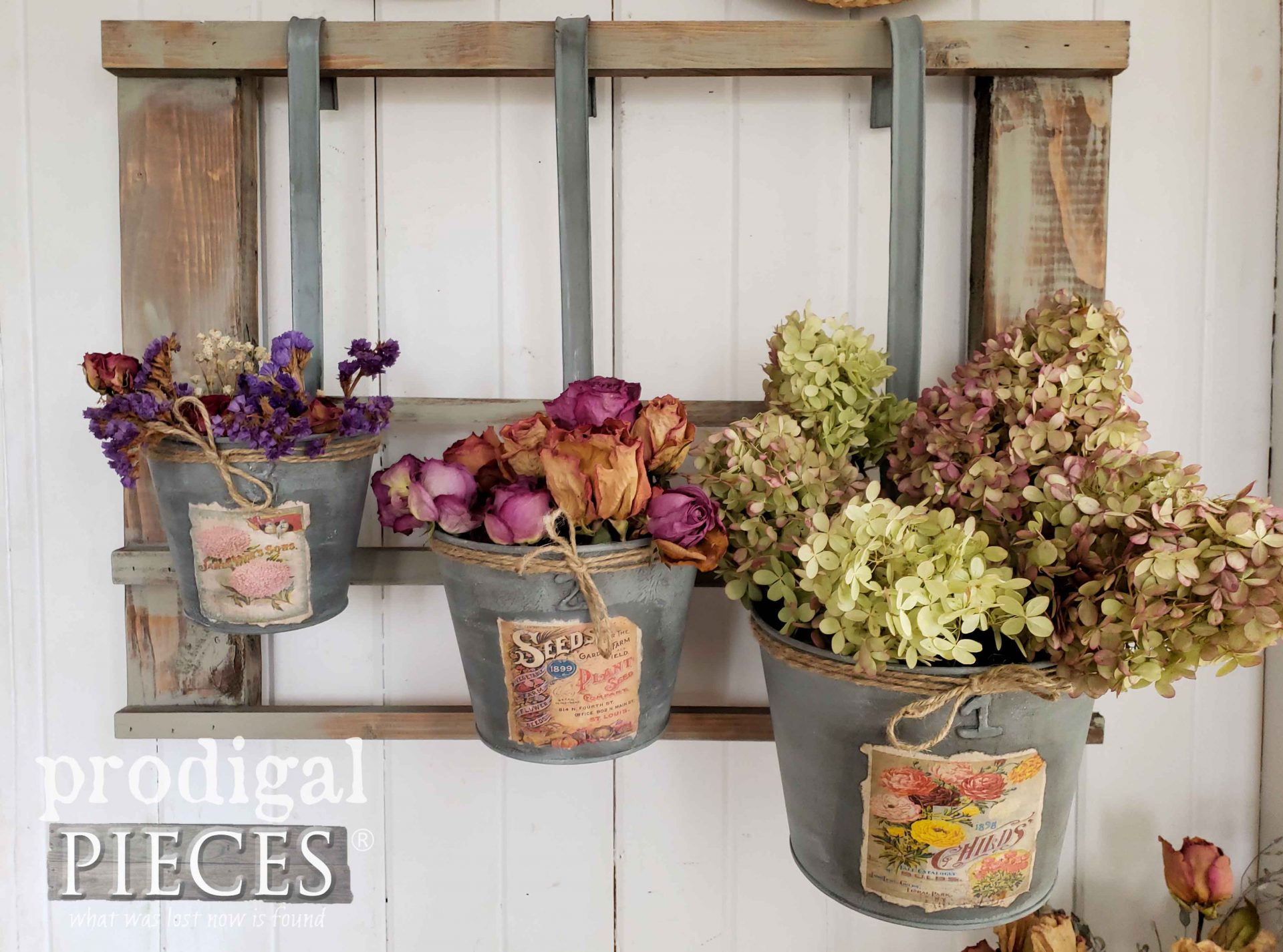 DIY Dried Floral Arrangements in Upcycled Christmas Decor by Larissa of Prodigal Pieces | prodigalpieces.com #prodigalpieces #farmhouse #diy #home #homedecor