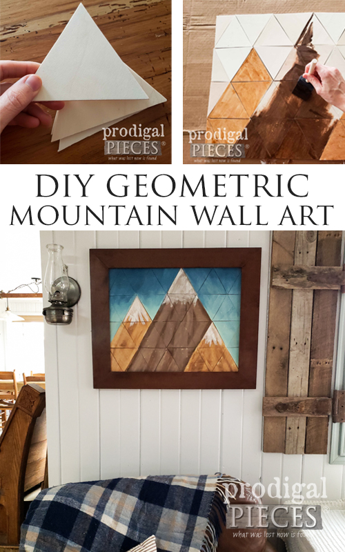 DIY Mountain Wall Art with Geometric Shapes by Larissa of Prodigal Pieces | prodigalpieces.com #prodigalpieces #farmhouse #art #home #diy #homedecor