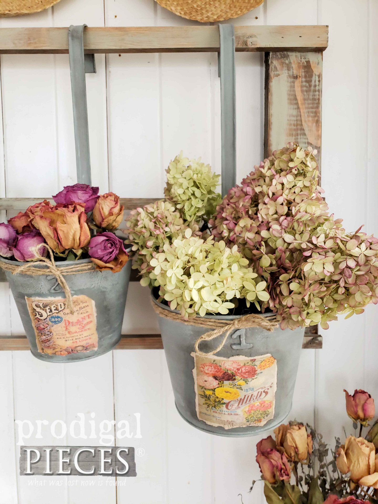 Dried Hydrangeas and Roses in Upcycled Christmas Decor by Larissa of Prodigal Pieces | prodigalpieces.com #prodigalpieces #flowers #diy #home #homedecor #farmhouse