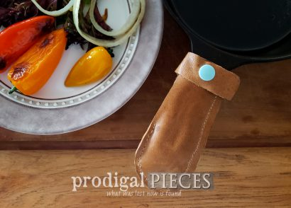 Featured Upcycled Leather Pot Holder from Old Purse with Video Tutorial by Larissa of Prodigal Pieces | prodigalpieces.com #prodigalpieces #diy #home #kitchen #cooking #handmade
