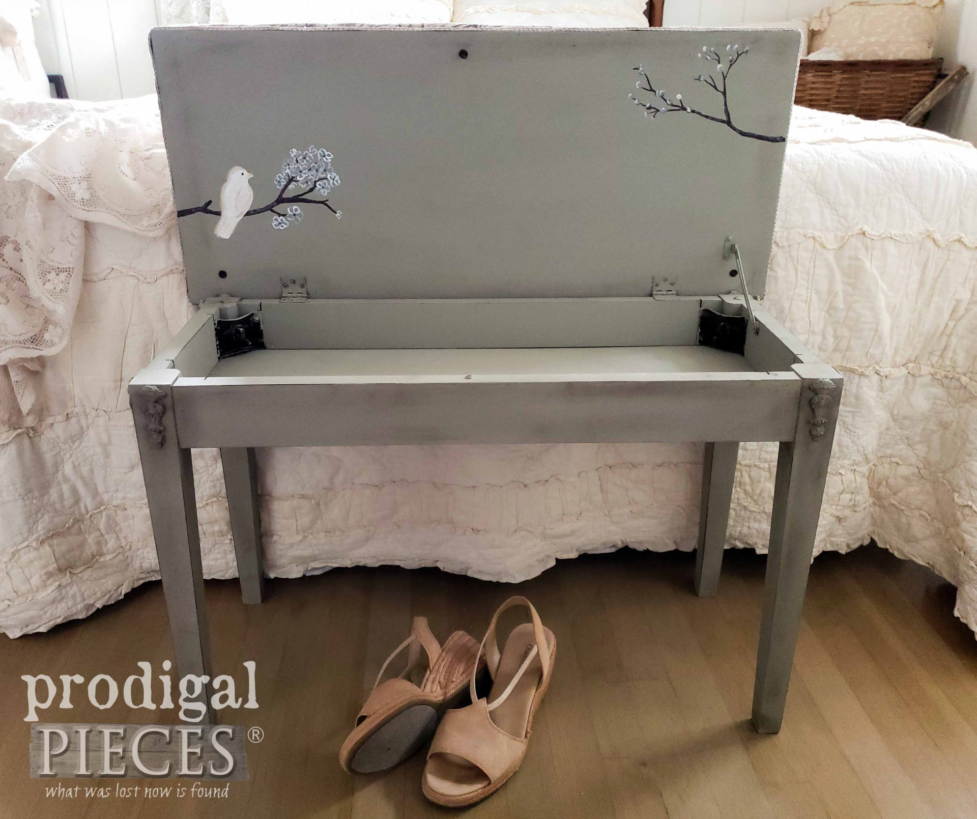Hand-Painted Piano Bench with Bird & Branches by Larissa of Prodigal Pieces | prodigalpieces.com #prodigalpieces #home #furniture #diy #homedecor