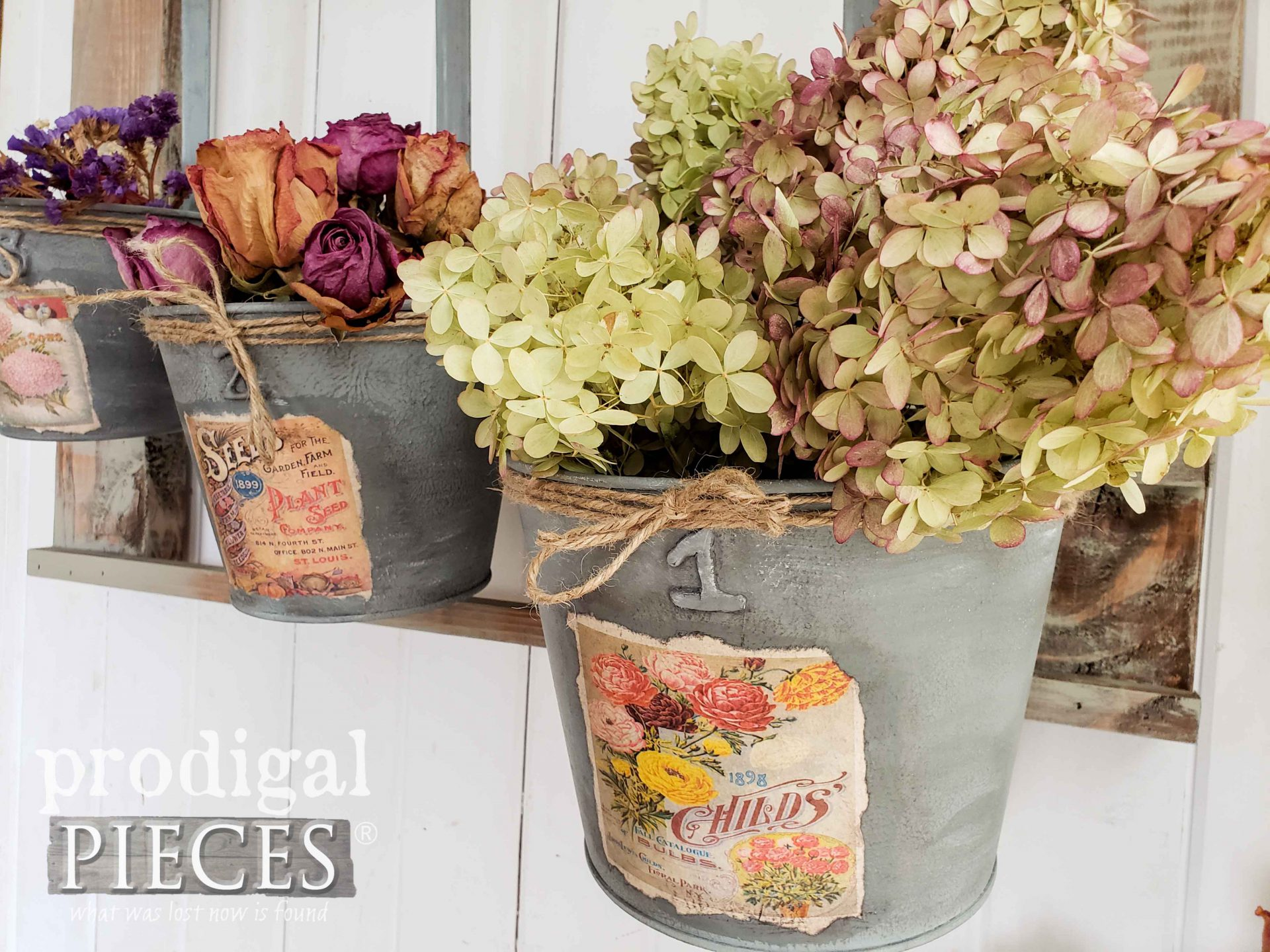 Handmade Flower Display from Upcycled Christmas Decor by Larissa of Prodigal Pieces | prodigalpieces.com #prodigalpieces #diy #farmhouse #home #homedecor