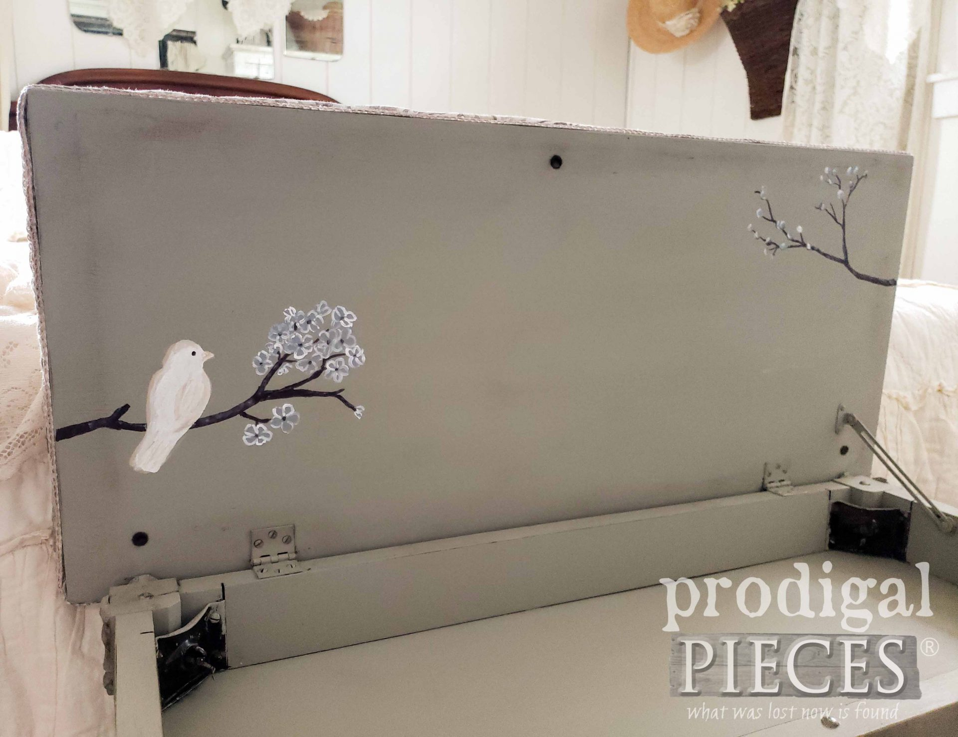 Hand-Painted Piano Bench with Upholstered Top by Larissa of Prodigal Pieces | prodigalpieces.com #prodigalpieces #diy #home #homedecor #furniture #farmhouse