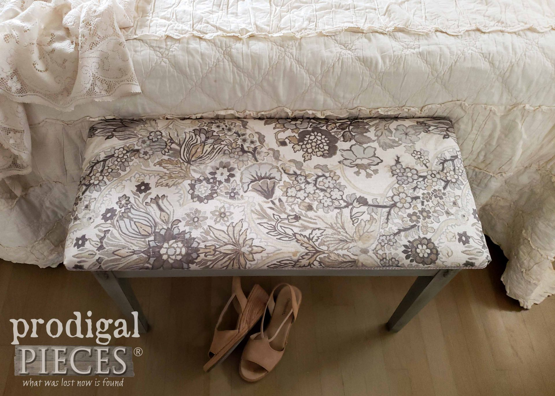 Linen Upholstery on Vintage Piano Bench Makeover by Larissa of Prodigal Pieces | prodigalpieces.com #prodigalpieces #diy #home #homedecor #furniture
