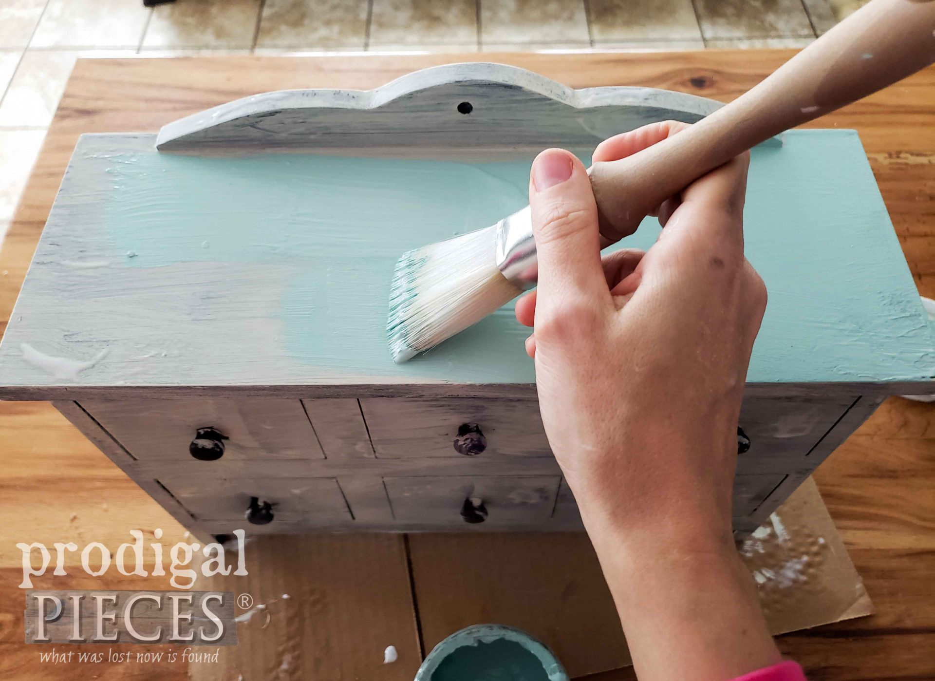 Painting Aqua Blue on Apothecary Cubby by Prodigal Pieces | prodigalpieces.com