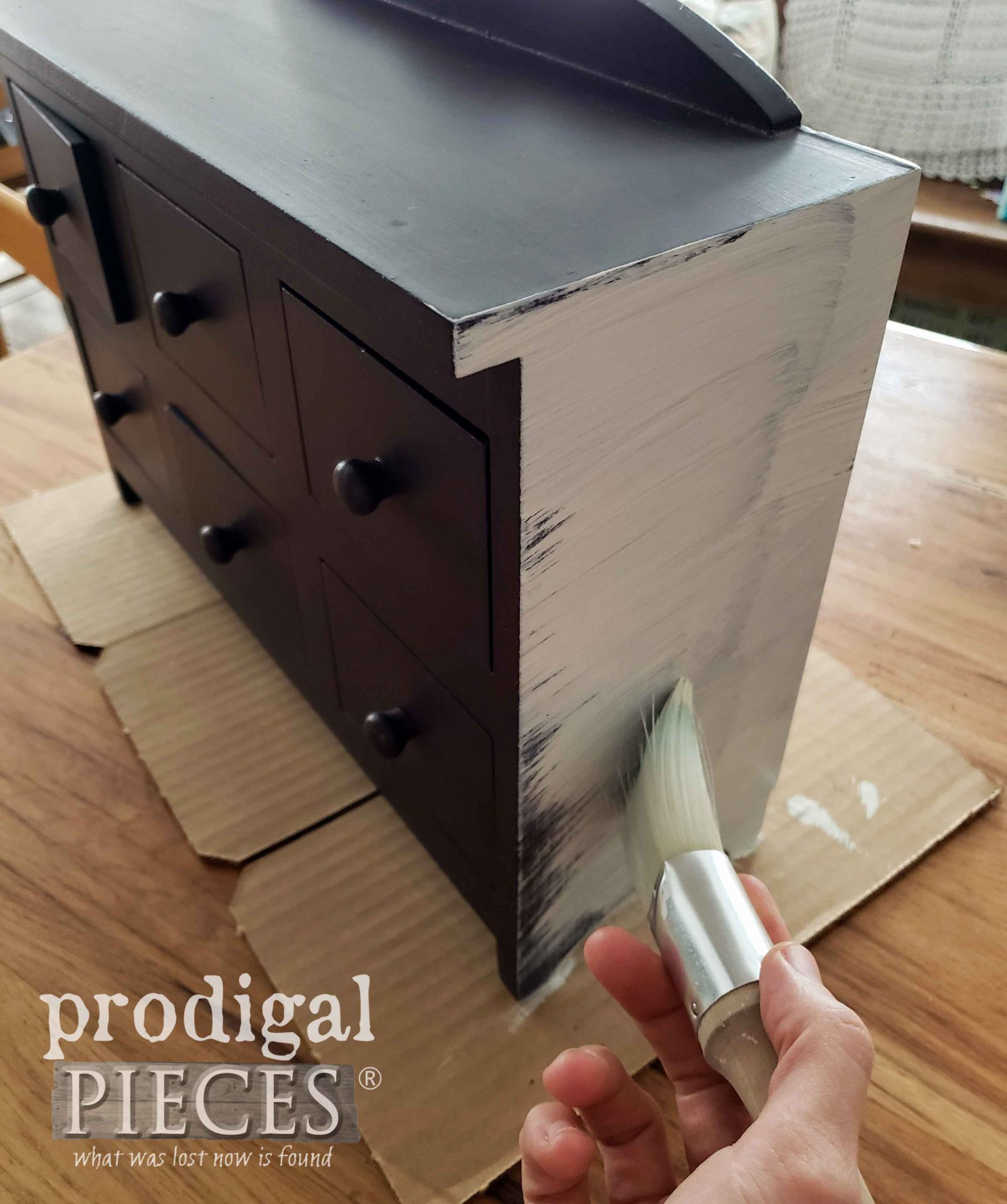 Painting Apothecary Cubby with First Coat of Paint | prodigalpieces.com