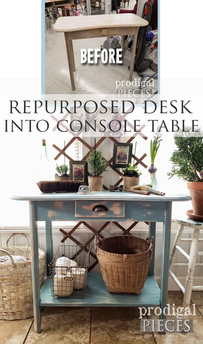 Take that desk and repurpose it into a console table. Let Larissa of Prodigal Pieces show you how | prodigalpieces.com #prodigalpieces #farmhouse #furniture #home #vintage #spring #homedecor