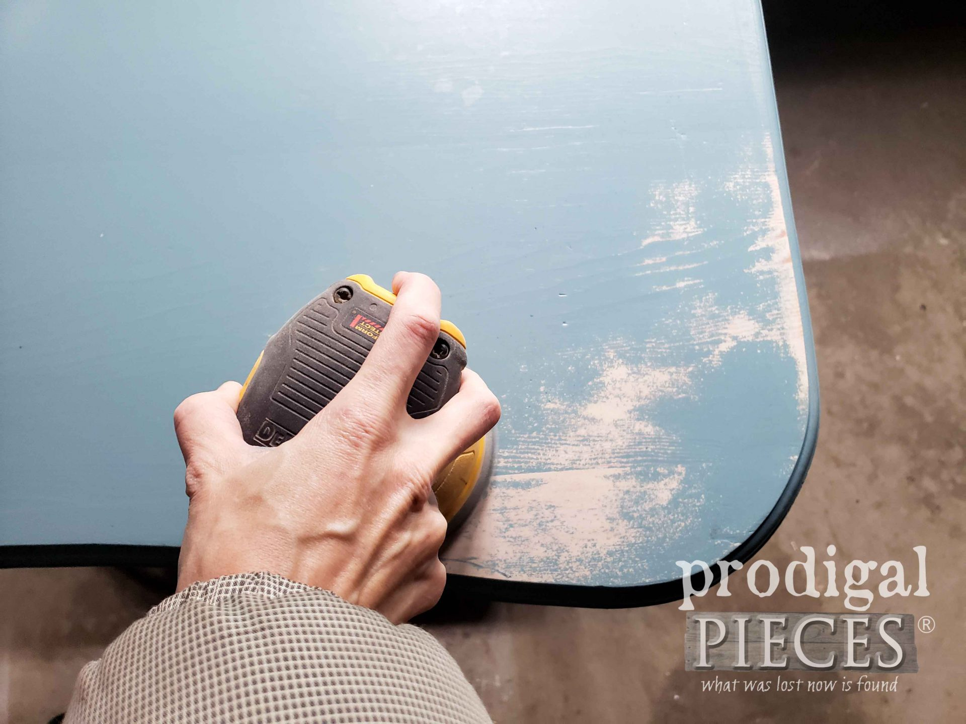Sanding Painted Table with DeWalt Sander | prodigalpieces.com