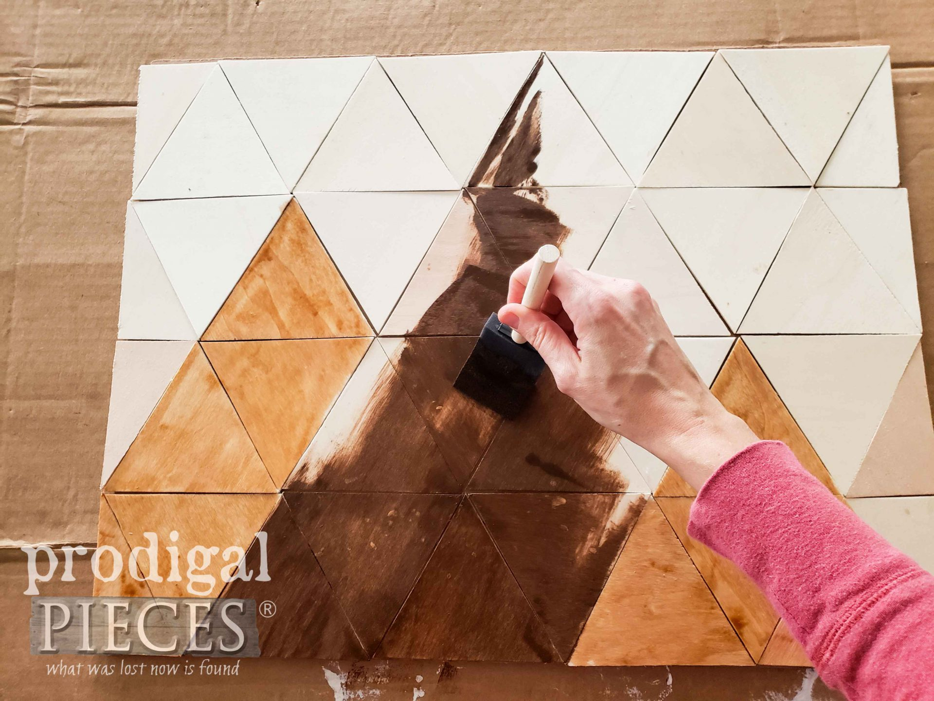 Use Various Stains to Create DIY Mountain Wall Art by Larissa of Prodigal Pieces | prodigalpieces.com