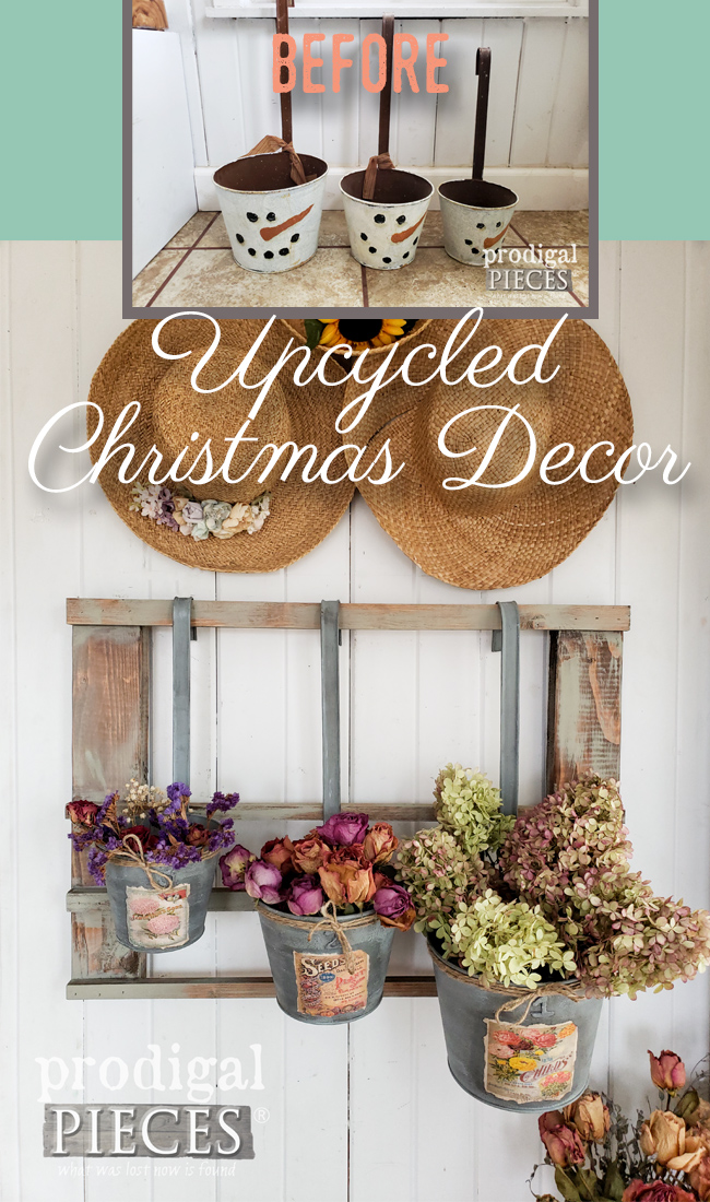 Don't trash or donate your old Christmas decor. Upcycle it! Larissa of Prodigal Pieces shows you how at prodigalpieces.com #prodigalpieces #diy #farmhouse #upcycle #home #homedecor