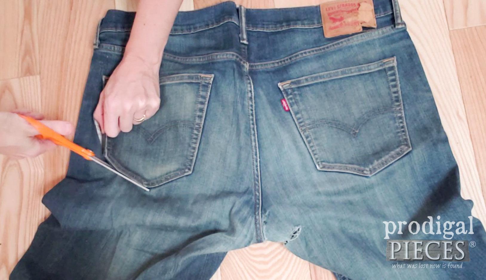 Cutting Jean Pockets for DIY Denim Pocket Purse   prodigalpieces.com #prodigalpieces