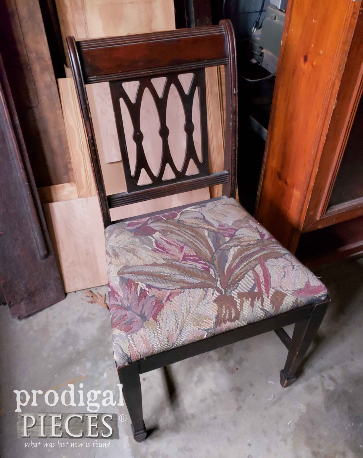 Vintage Chair for French Provincial Desk Before Makeover | prodigalpieces.com