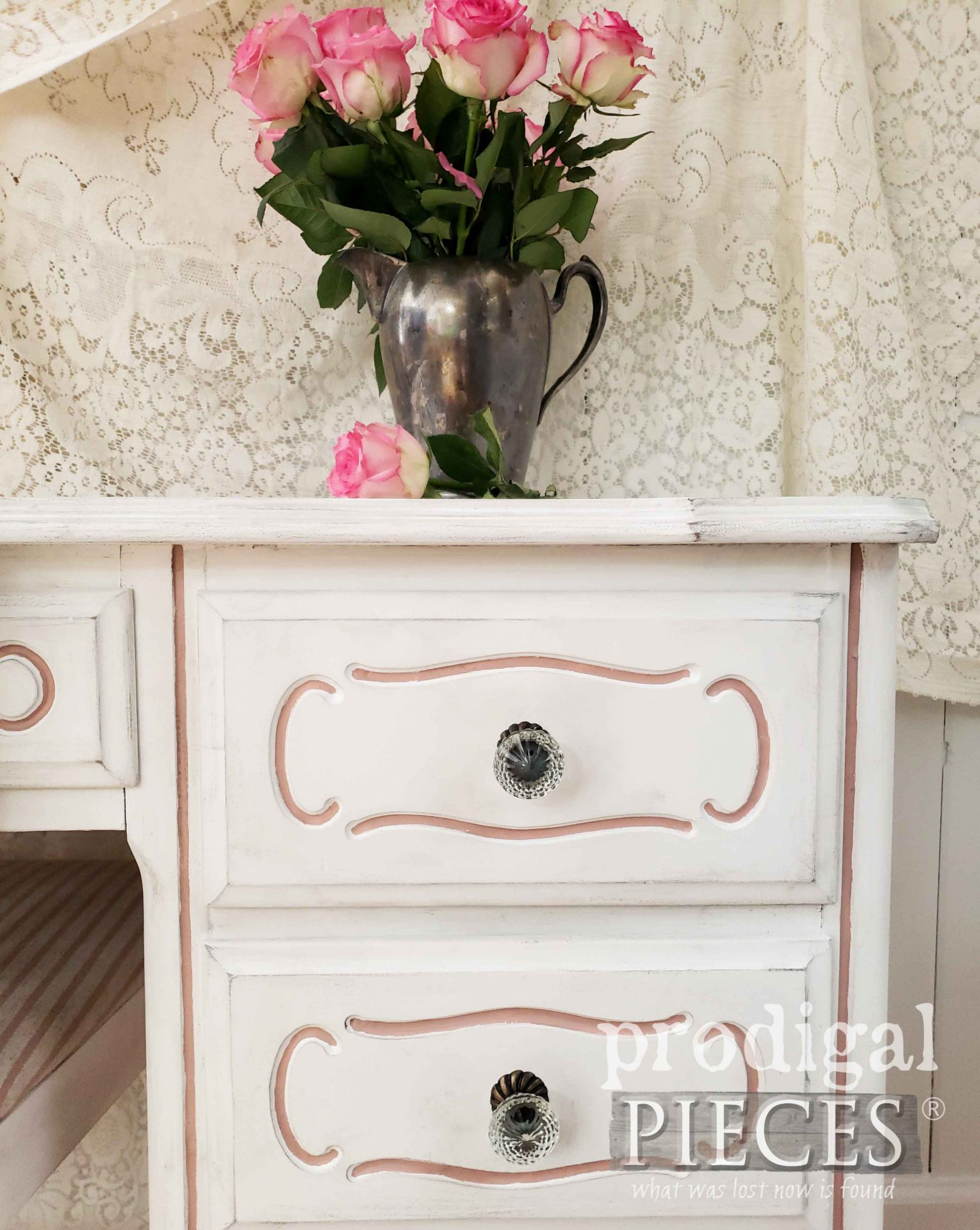 French Provincial Desk with Faceted Glass Knobs by Larissa of Prodigal Pieces | prodigalpieces.com #prodigalpieces #home #shabbychic #furniture #homedecor #diy