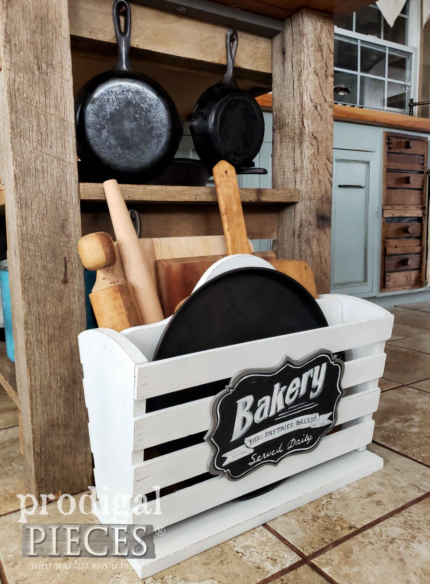 DIY Kitchen Storage from Upcycled Magazine Rock by Larissa of Prodigal Pieces | prodigalpieces.com #prodigalpieces #farmhouse #home #homedecor