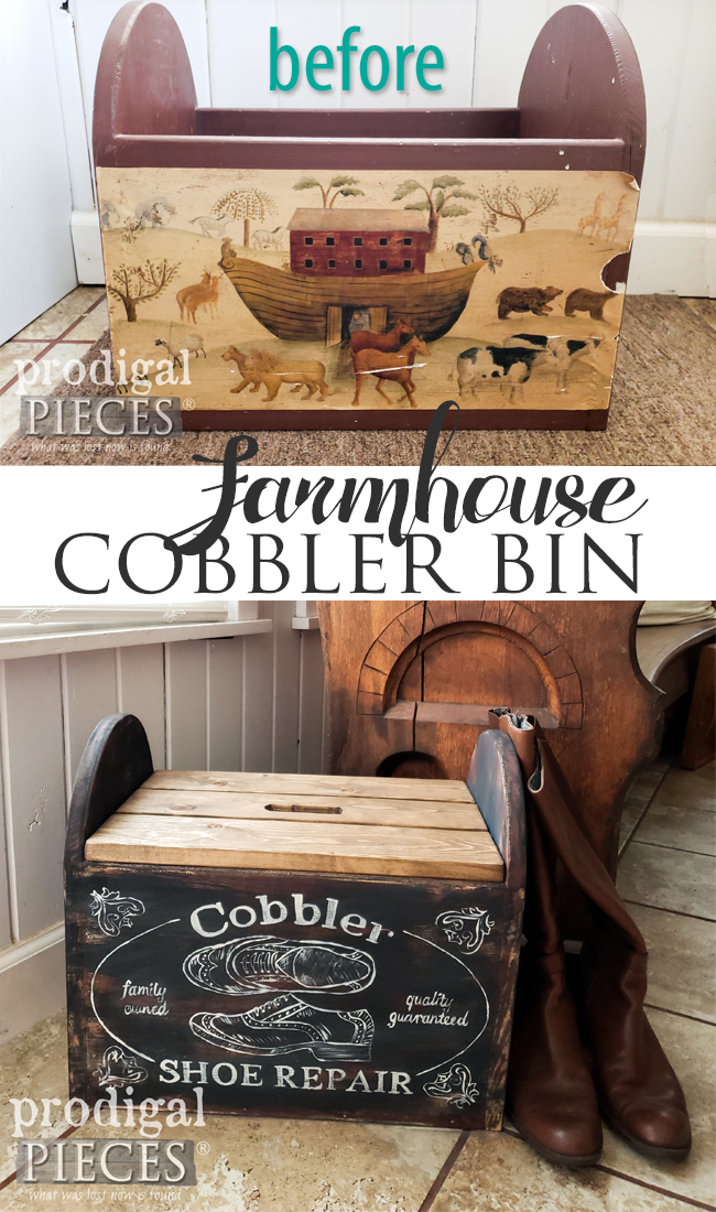 How fun is this thrifty makeover? Larissa of Prodigal Pieces gave this dated piece a farmhouse cobbler bin makeover | Full tutorial at prodigalpieces.com #prodigalpieces #diy #home #farmhouse #homedecor
