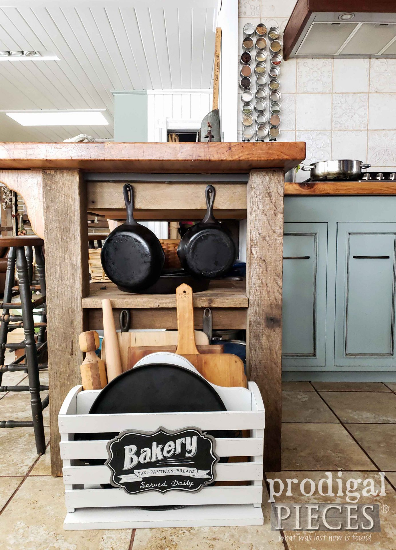 Farmhouse DIY Kitchen Storage from Repurposed Magazine Rack by Larissa of Prodigal Pieces | prodigalpieces.com #prodigalpieces #farmhouse #kitchen #storage #home #homedecor