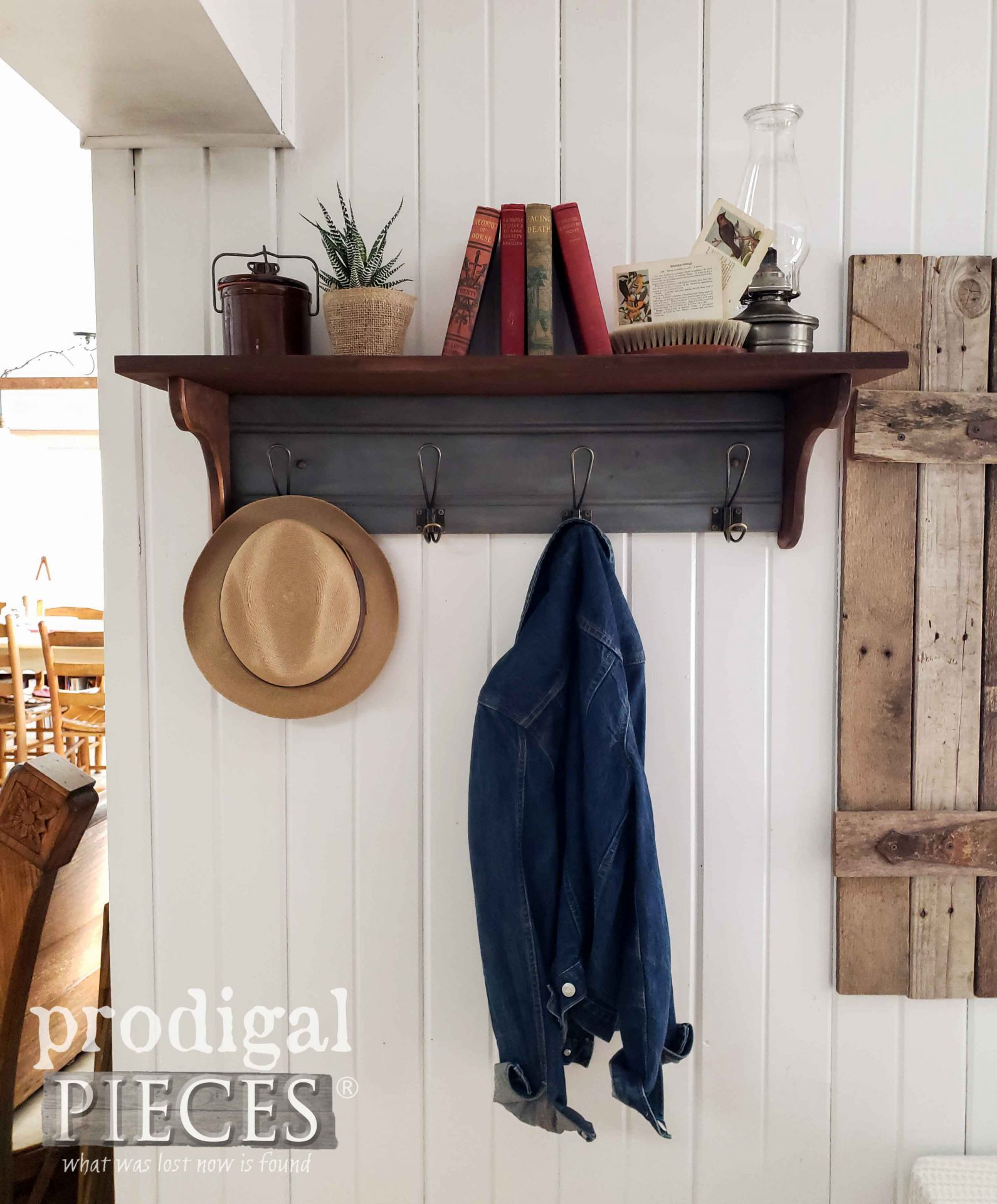 Farmhouse Style Home Decor with Reclaimed Coat Rack by Larissa of Prodigal Pieces | Video Tutorial at prodigalpieces.com #prodigalpieces #farmhouse #home #diy #homedecor #tutorial