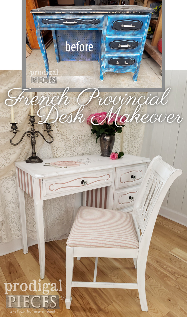 Vintage French Provincial Desk Gets the Makeover of a Lifetime by Larissa of Prodigal Pieces | Details at prodigalpieces.com #prodigalpieces #diy #furniture #home #frenchprovincial #homedecor