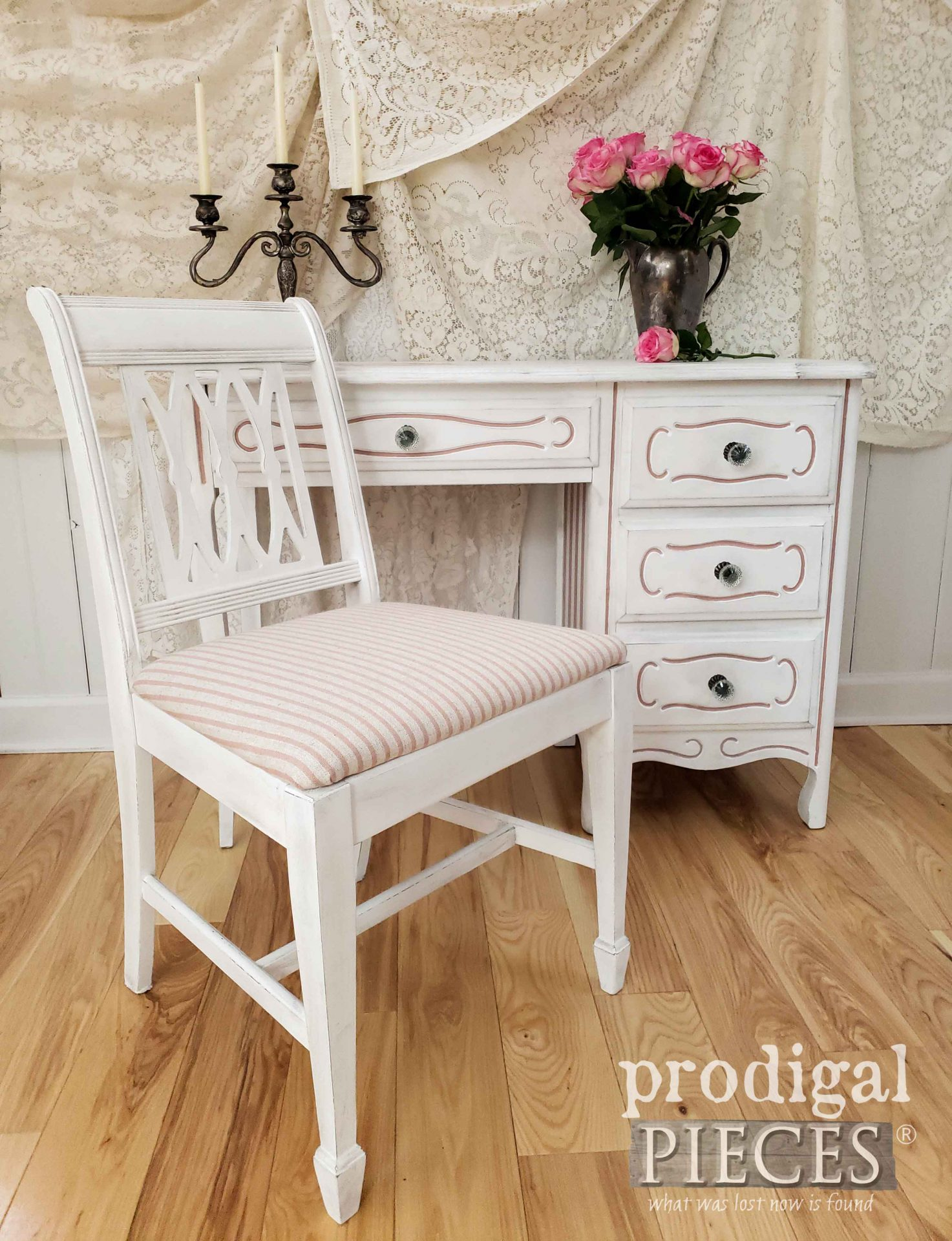 Linen French Stripe Upholstery for Vintage Desk Set Makeover by Larissa of Prodigal Pieces | prodigalpieces.com #prodigalpieces #diy #furniture #shabbychic #home #homedecor