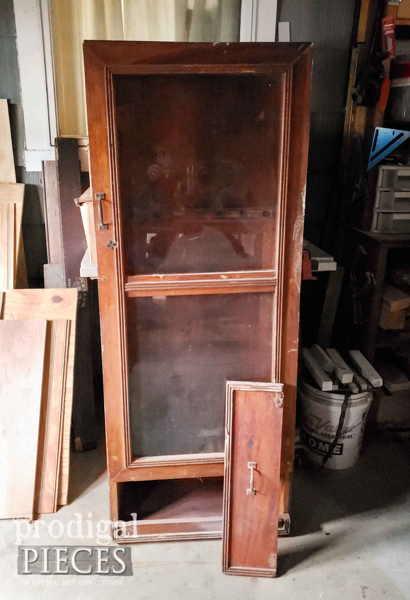 Handmade Gun Cabinet Before Makeover by Larissa of Prodigal Pieces | prodigalpieces.com