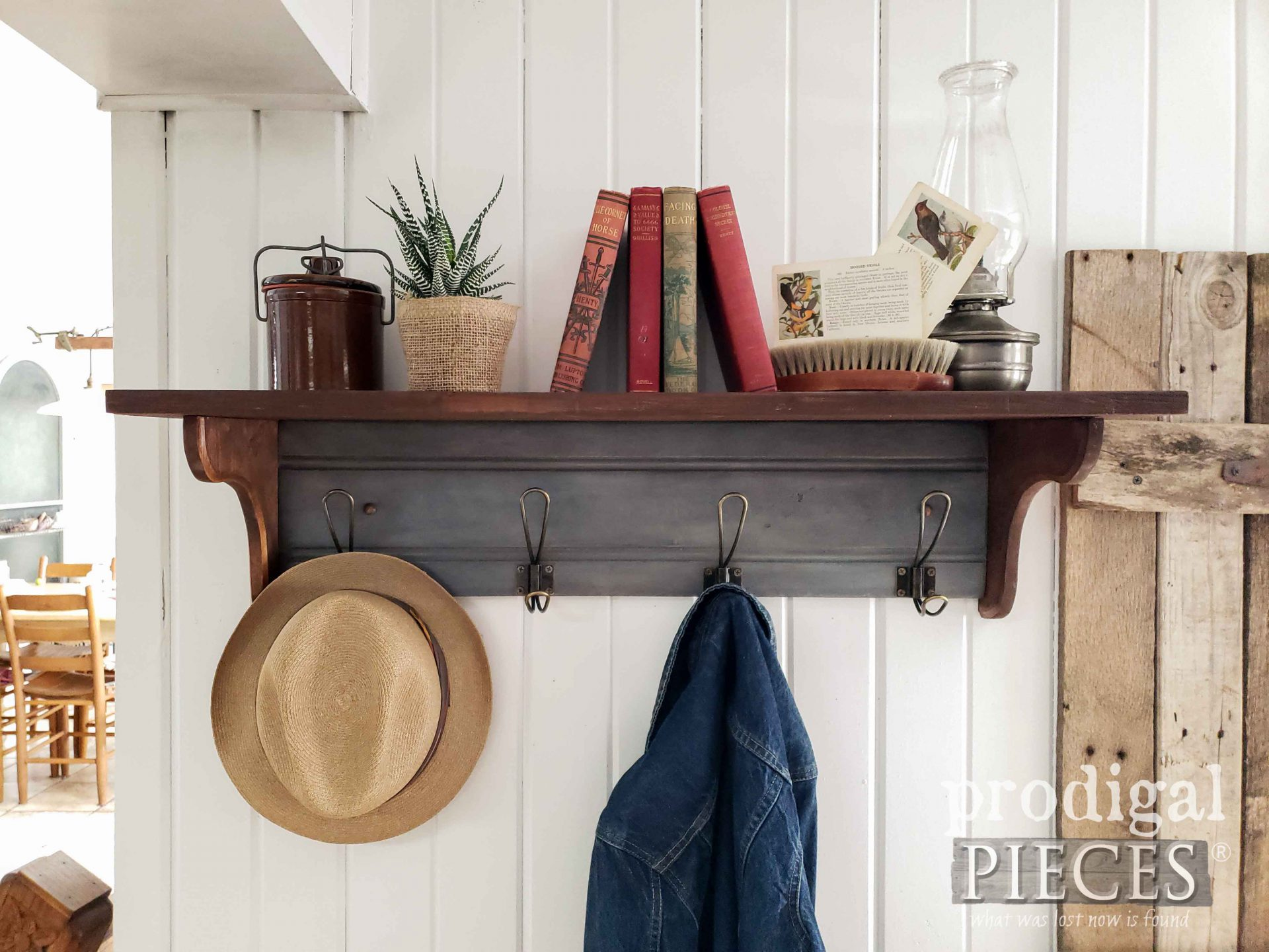 Rustic Farmhouse Style Coat Rack with Shelf for Home Decor by Larissa of Prodigal Pieces | prodigalpieces.com #prodigalpieces #diy #home #farmhouse #homedecor