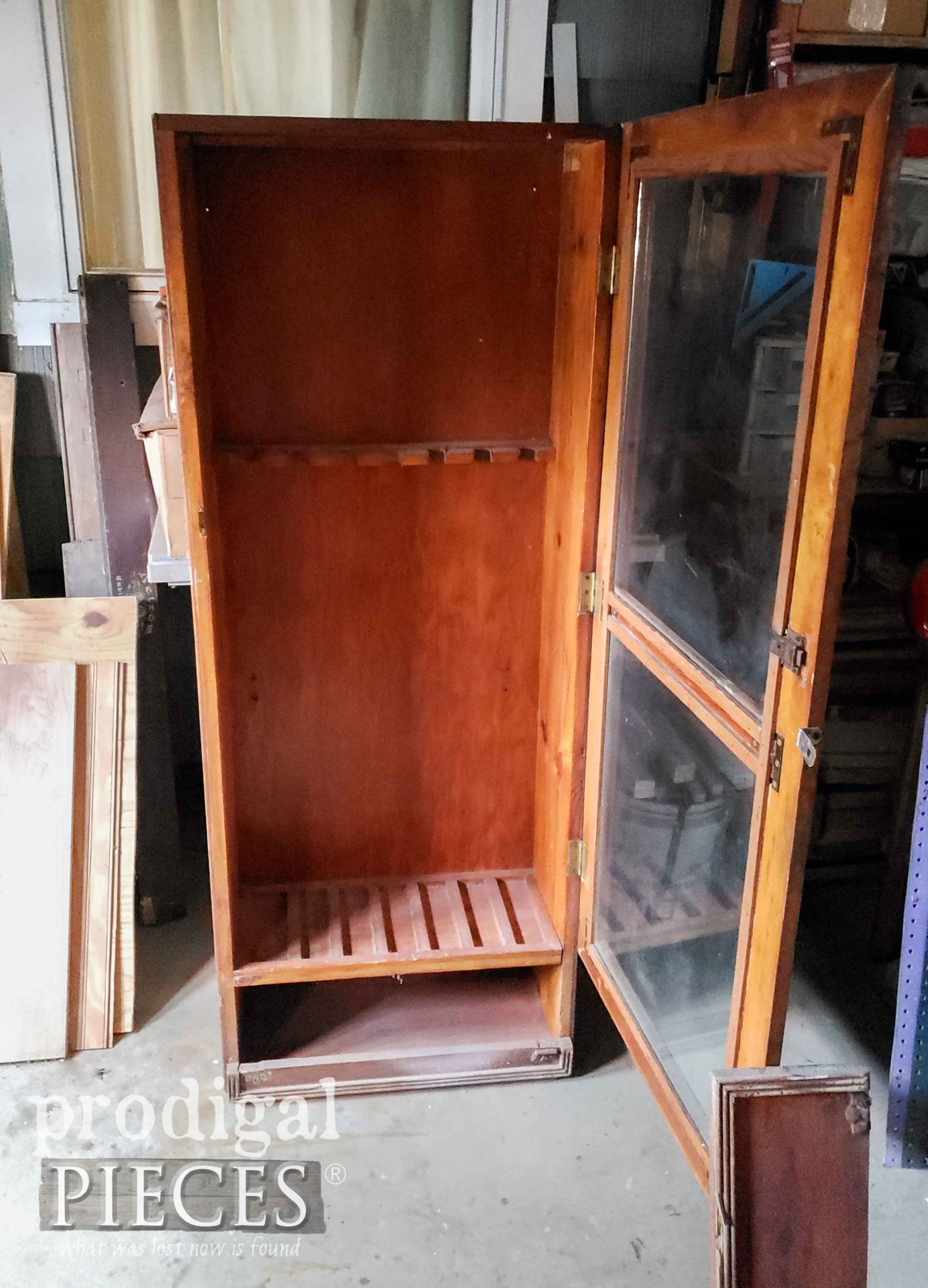 Inside Gun Cabinet for Repurposing | prodigalpieces.com