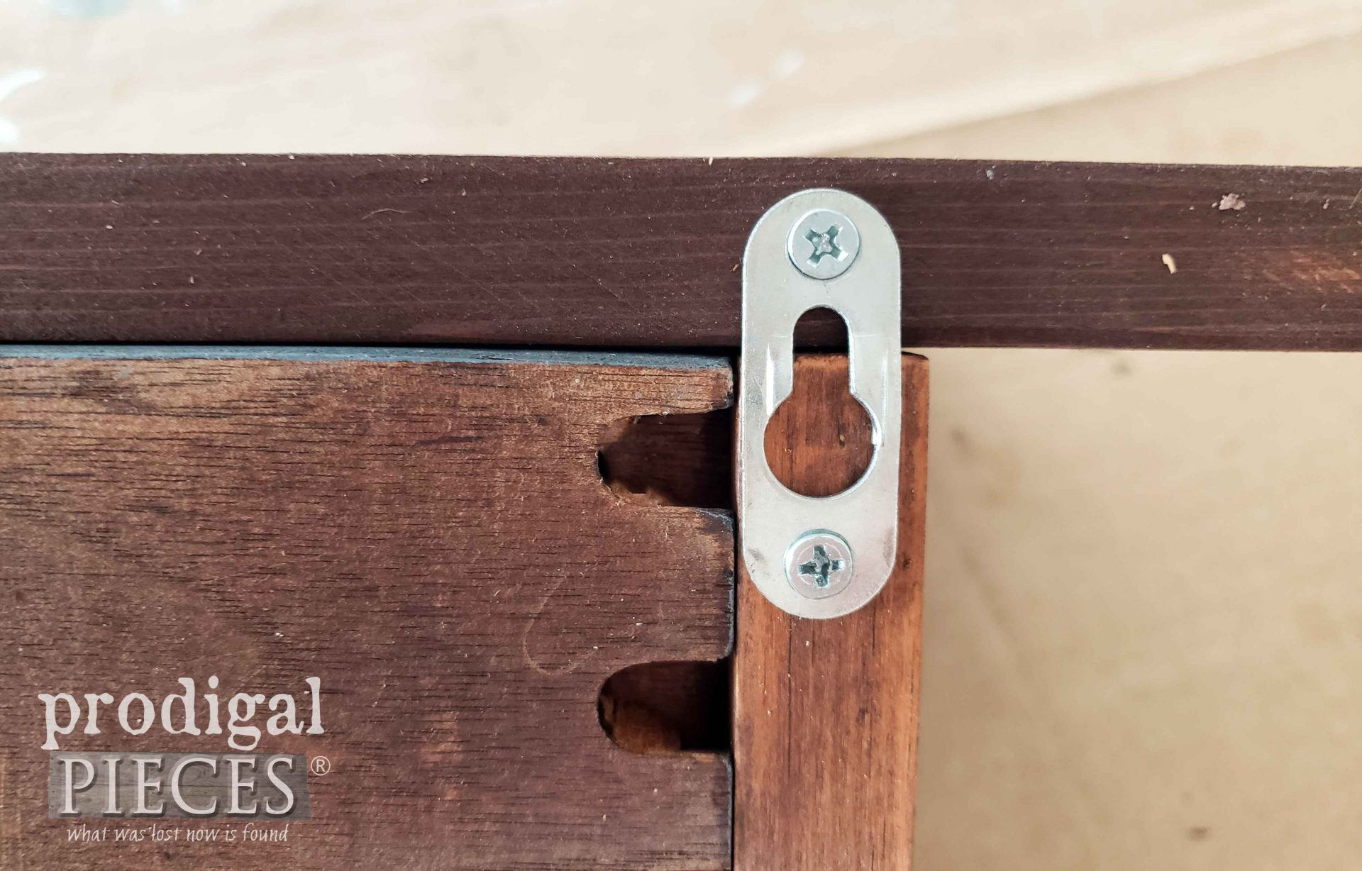 Keyhole Hardware to Mount Reclaimed Coat Rack | prodigalpieces.com