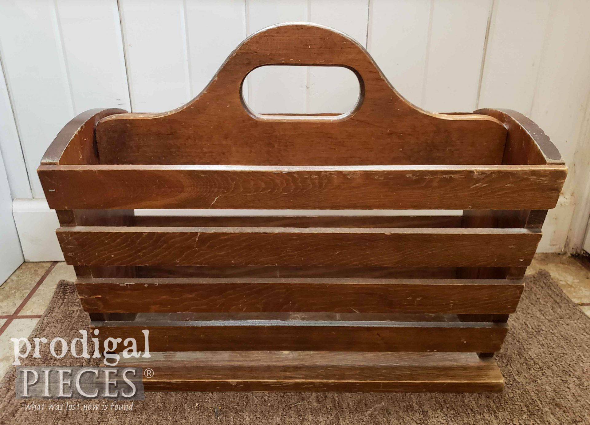 Vintage Magazine Rack Before Repurpose by Larissa of Prodigal Pieces | prodigalpieces.com