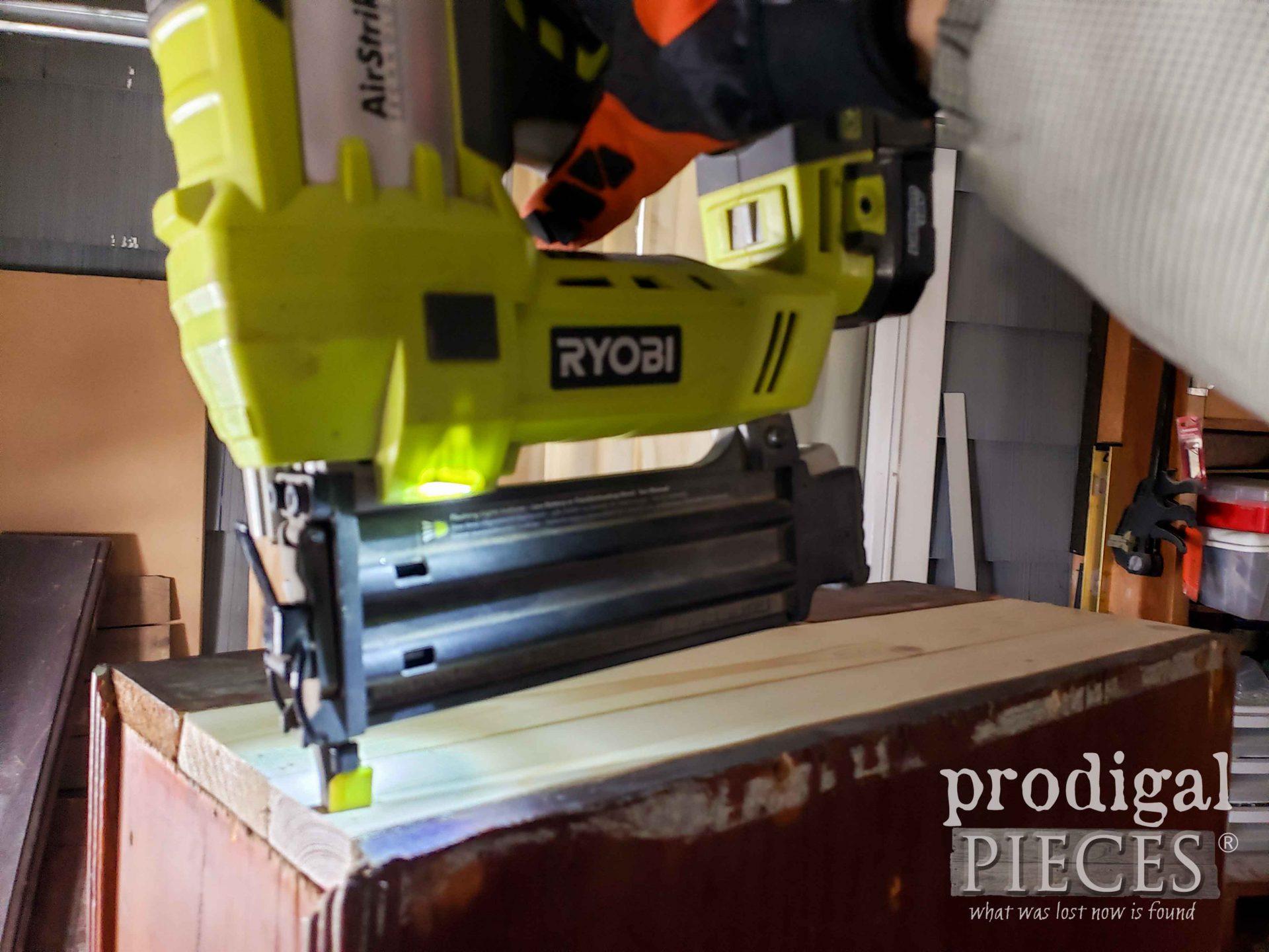 Nailing Wood Cabinet with Ryobi Nailer | prodigalpieces.com