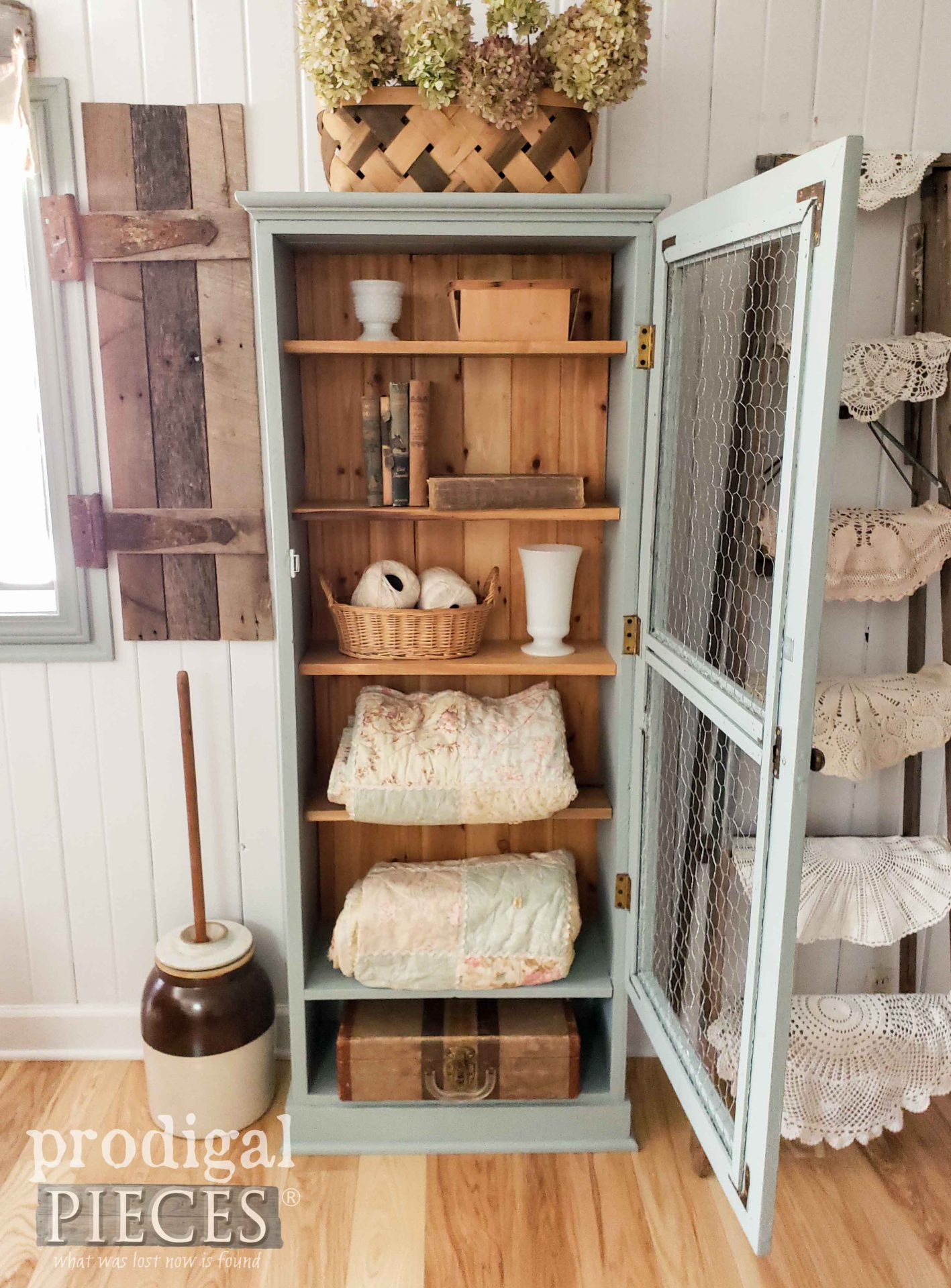 Open Farmhouse Cupboard Upcycled Gun Cabinet by Larissa of Prodigal Pieces | prodigalpieces.com #prodigalpieces #diy #home #homedecor