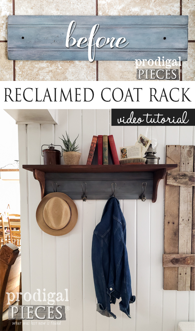 You can build this reclaimed coat rack with the step-by-step video tutorial by Larissa of Prodigal Pieces | prodigalpieces.com #prodigalpieces #diy #home #farmhouse #homedecor #bathroom #entry