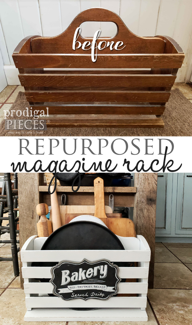 Grab that ol' magazine rack and turn it into handy kitchen storage | DIY by Larissa of Prodigal Pieces at prodigalpieces.com #prodigalpieces #diy #home #farmhouse #kitchen #homedecor