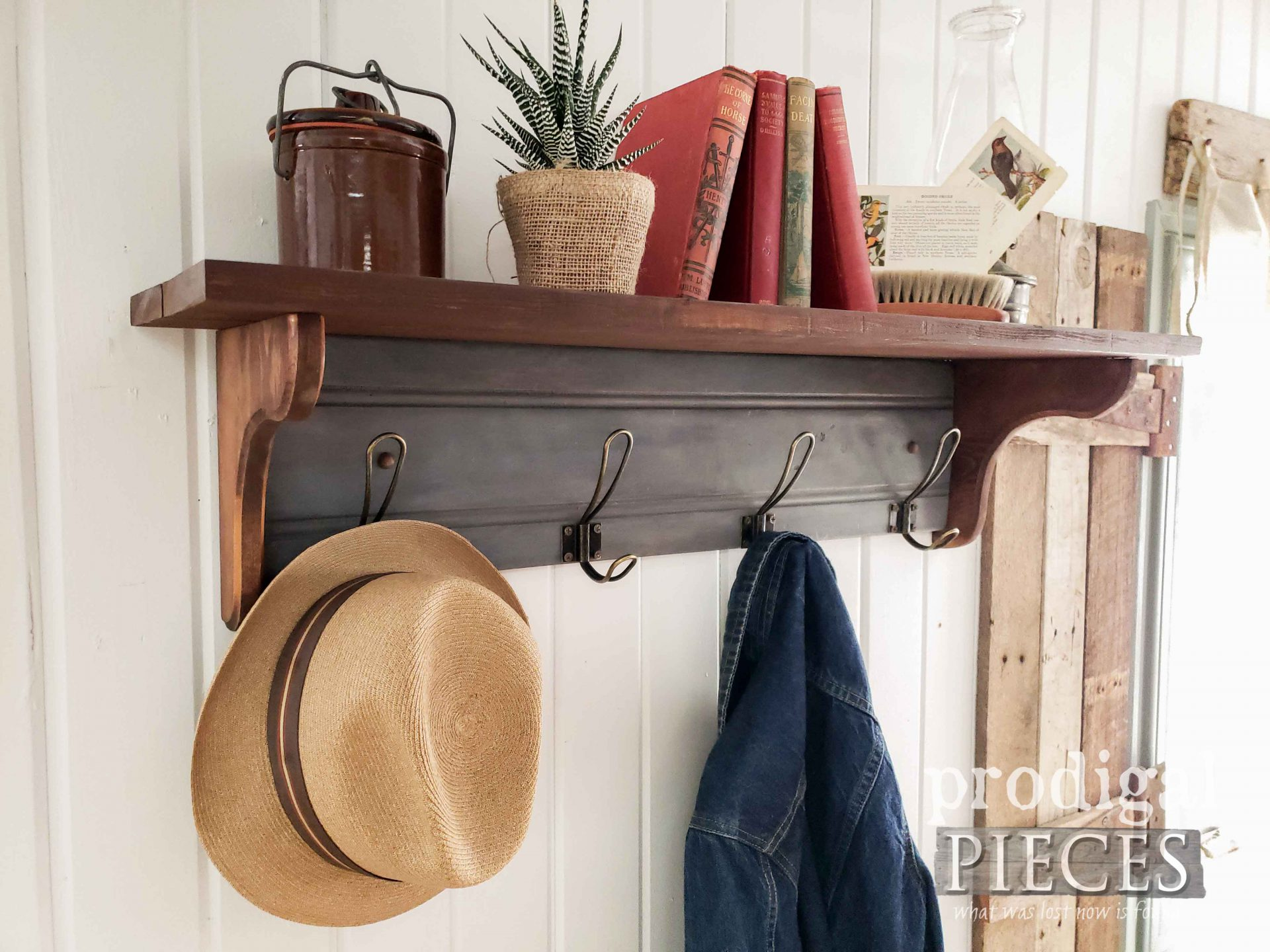 Rustic Farmhouse Coat Rack with DIY Video Tutorial by Larissa of Prodigal Pieces | prodigalpieces.com #prodigalpieces #diy #home #woodworking #homedecor